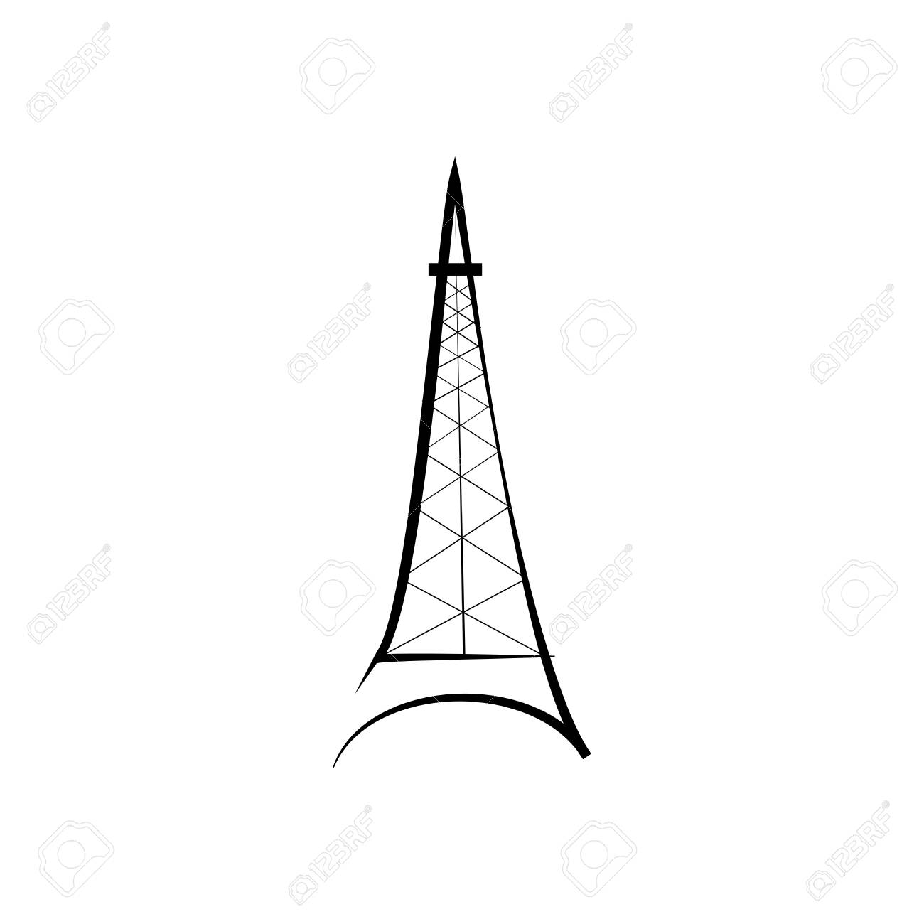 Eiffel Tower Sign. Black Isolated Silhouette On White Background ...