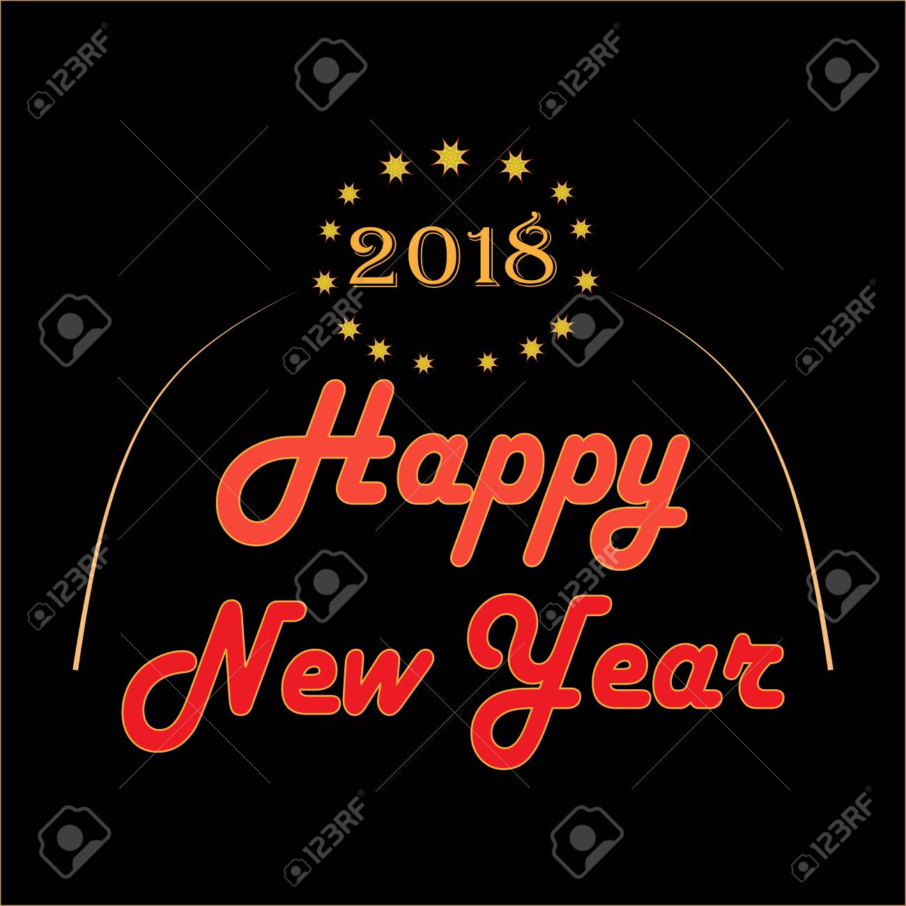 happy new year hand lettering and 2018 on black background fashion graphic background design