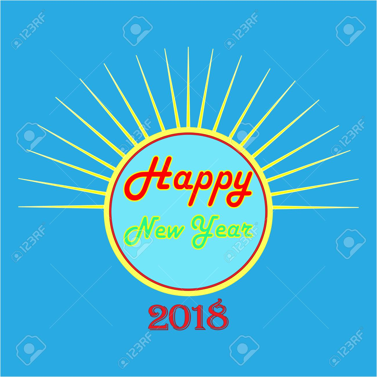 happy new year hand lettering and 2018 on blue background fashion graphic background design