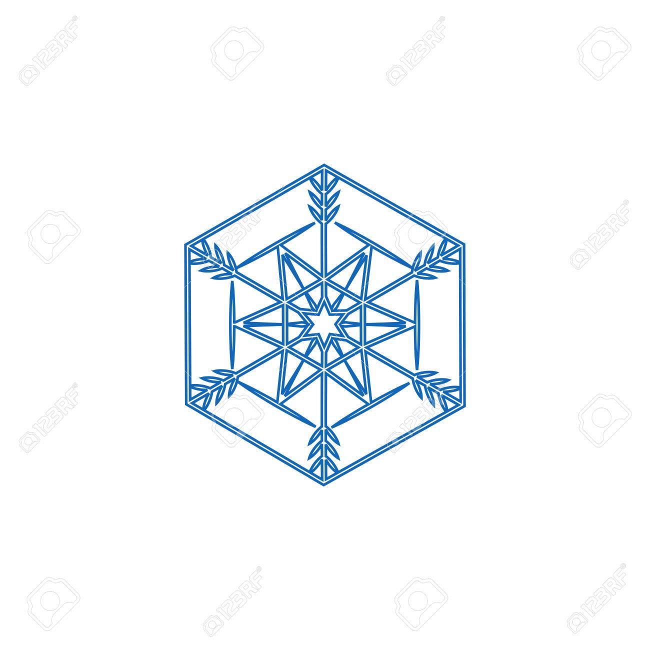 Segno Di Fiocco Di Neve Sagoma Fiocco Blu Disegno Su Sfondo Bianco Simbolo Delle Festività Natalizie Modello Colorato Per Stampe Carta Elemento