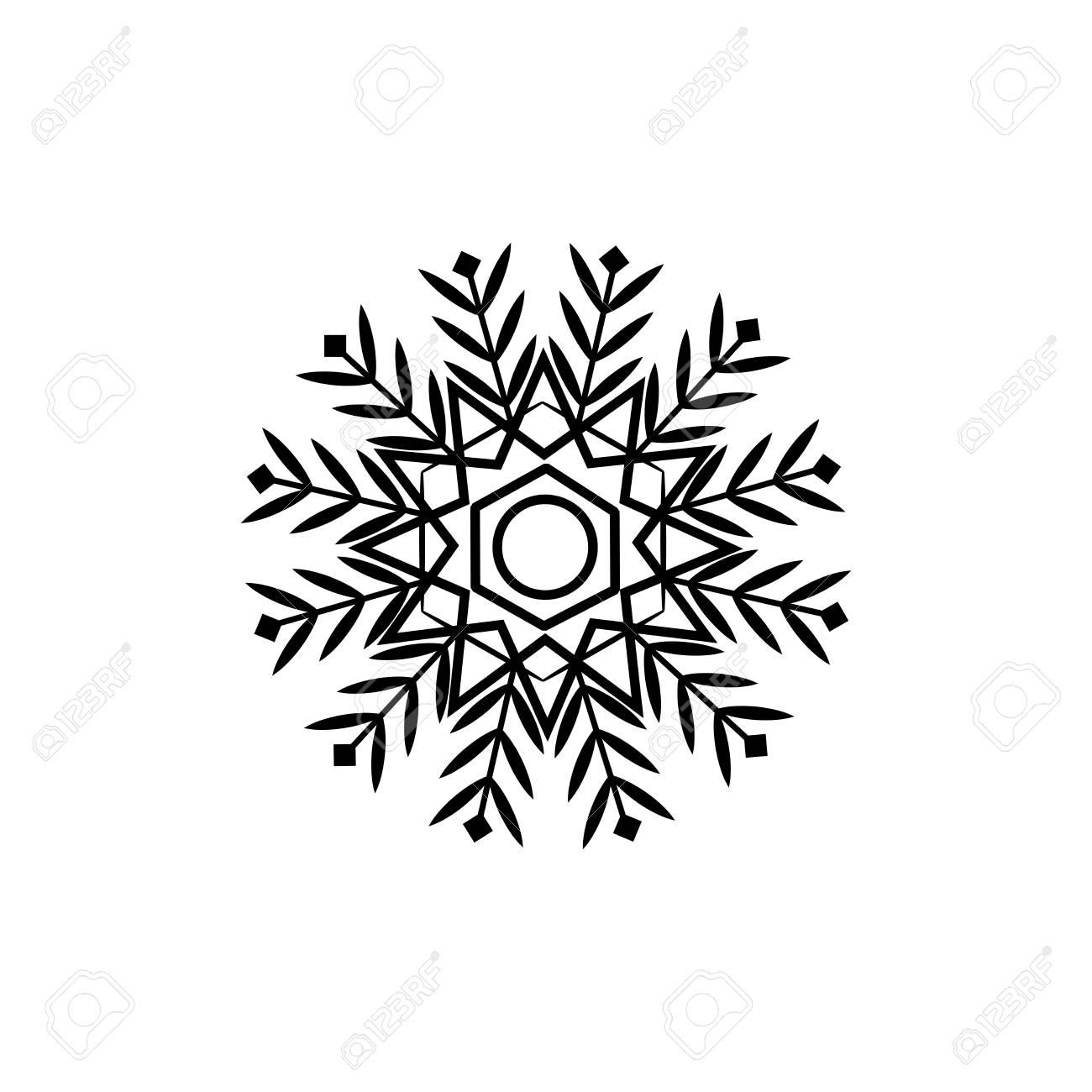 Disegno Nero Su Bianco.Segno Di Fiocco Di Neve Sagoma Fiocco Di Neve Disegno Nero Su Sfondo Bianco Simbolo Delle Festivita Natalizie Modello Monocromatico Per Stampe