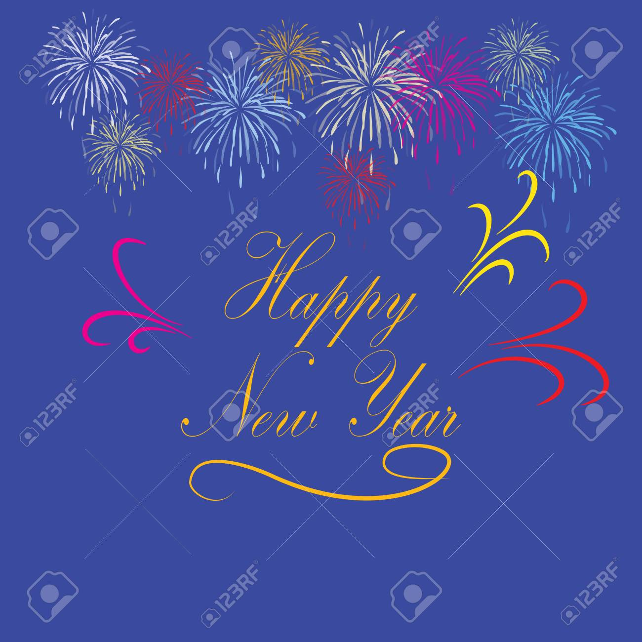 happy new year hand lettering on blue background fashion graphic background design modern stylish