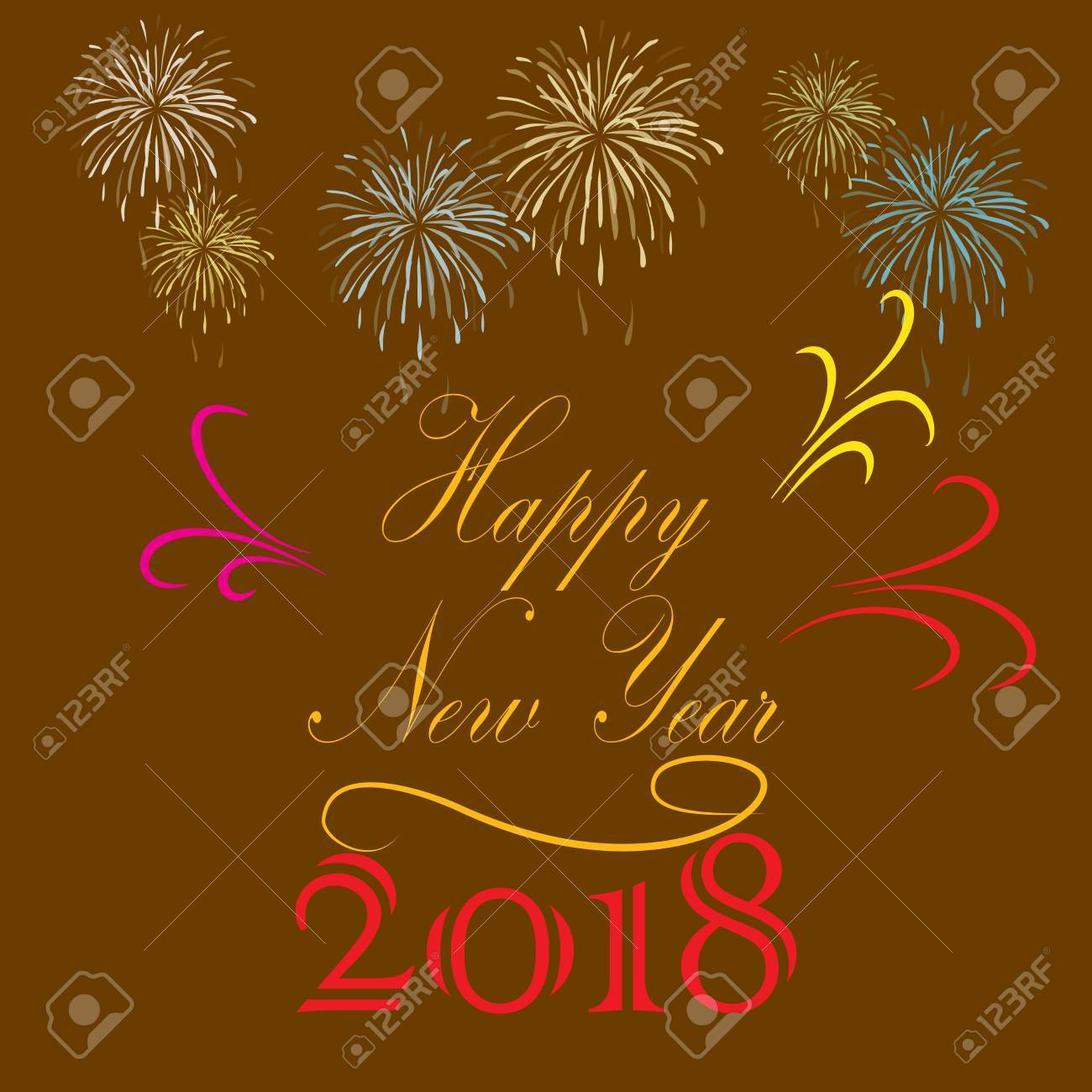 happy new year hand lettering on brown background fashion graphic background design modern stylish