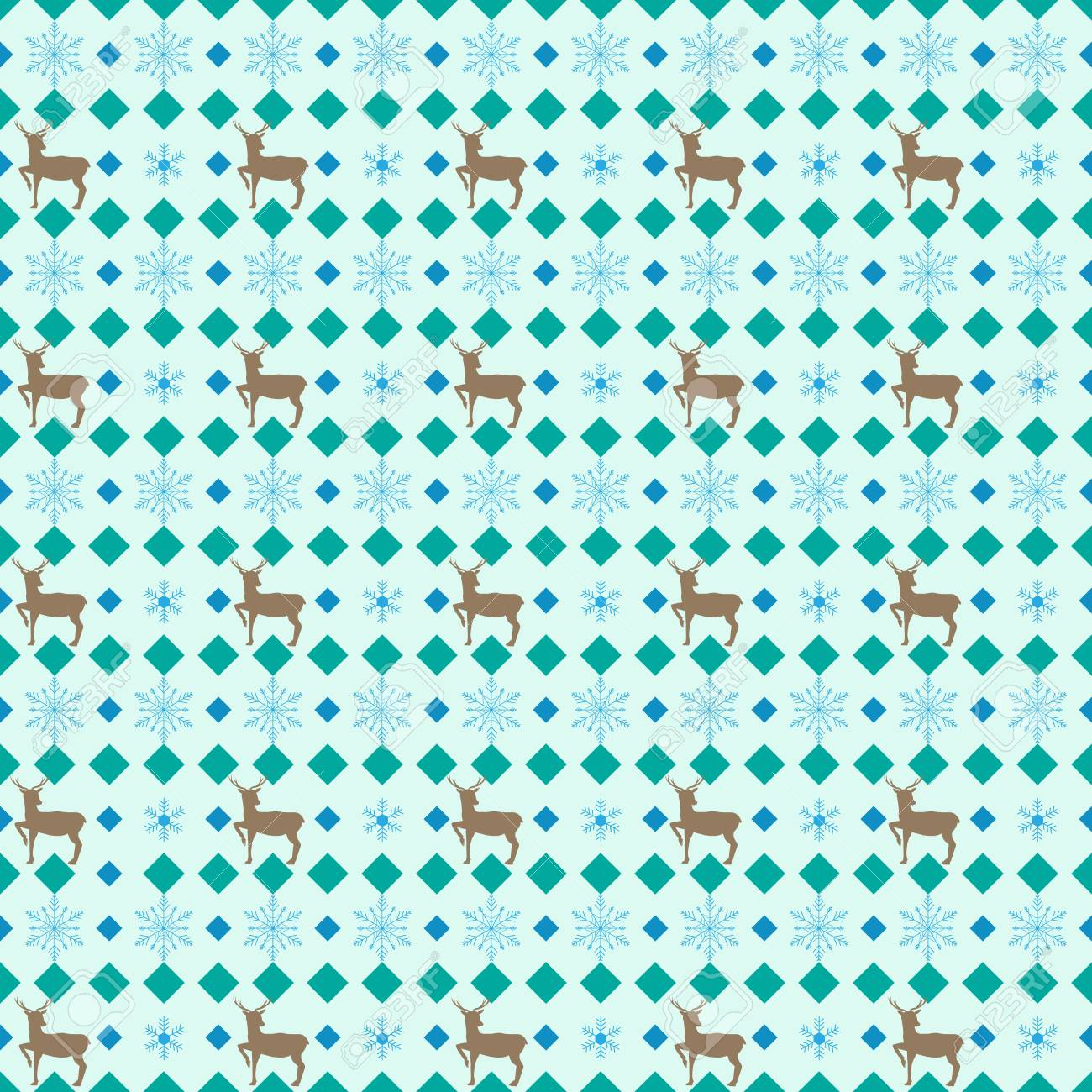 Deer And Snowflake Seamless Pattern Fashion Graphic Background