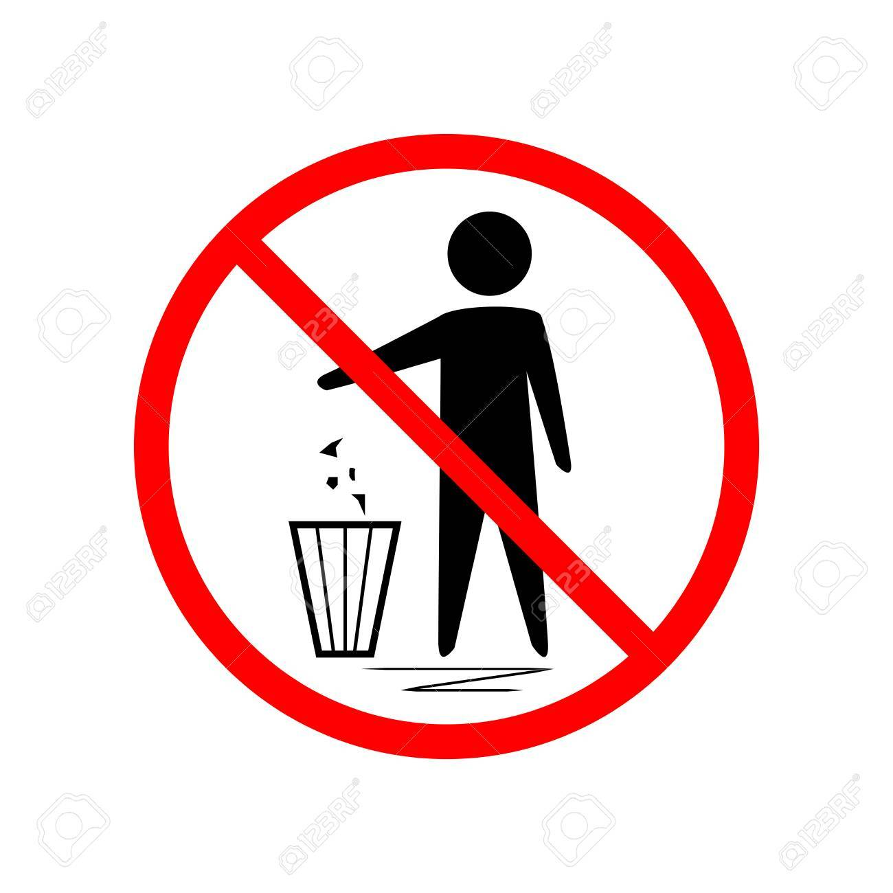 Do not litter sign silhouette person on white background no do not litter sign silhouette person on white background no throwing garbage mark in buycottarizona