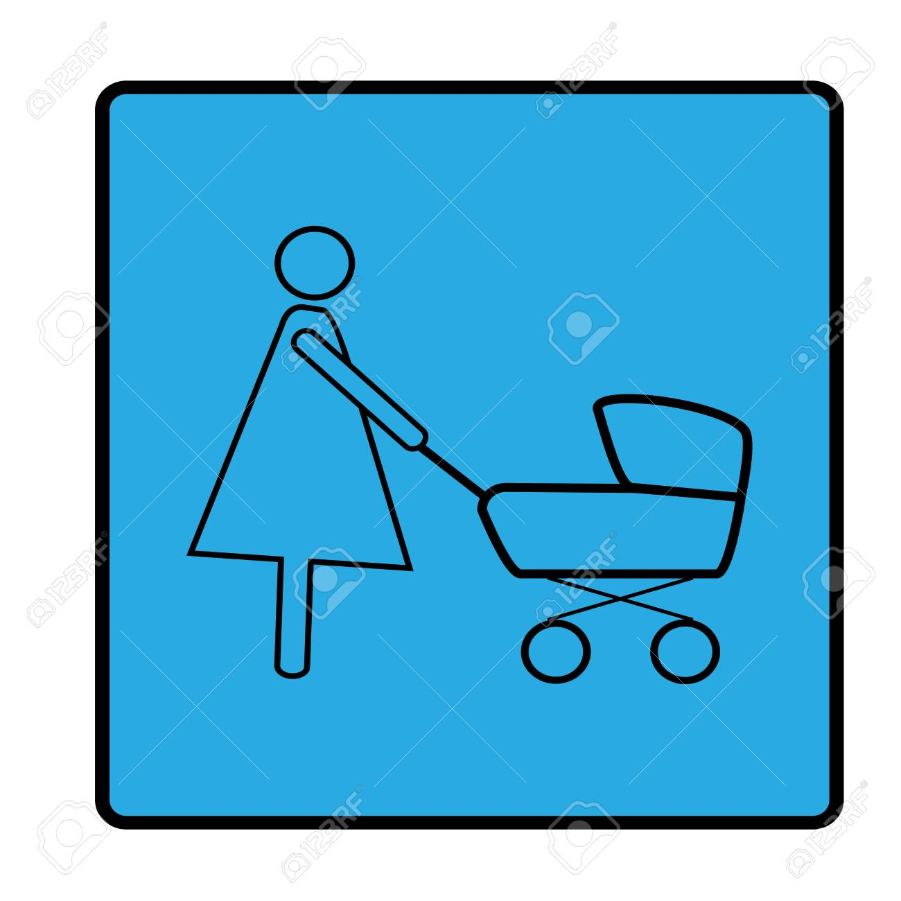 Silhouette Mother And Baby In Stroller In Blue Square. Icon Carriage ...