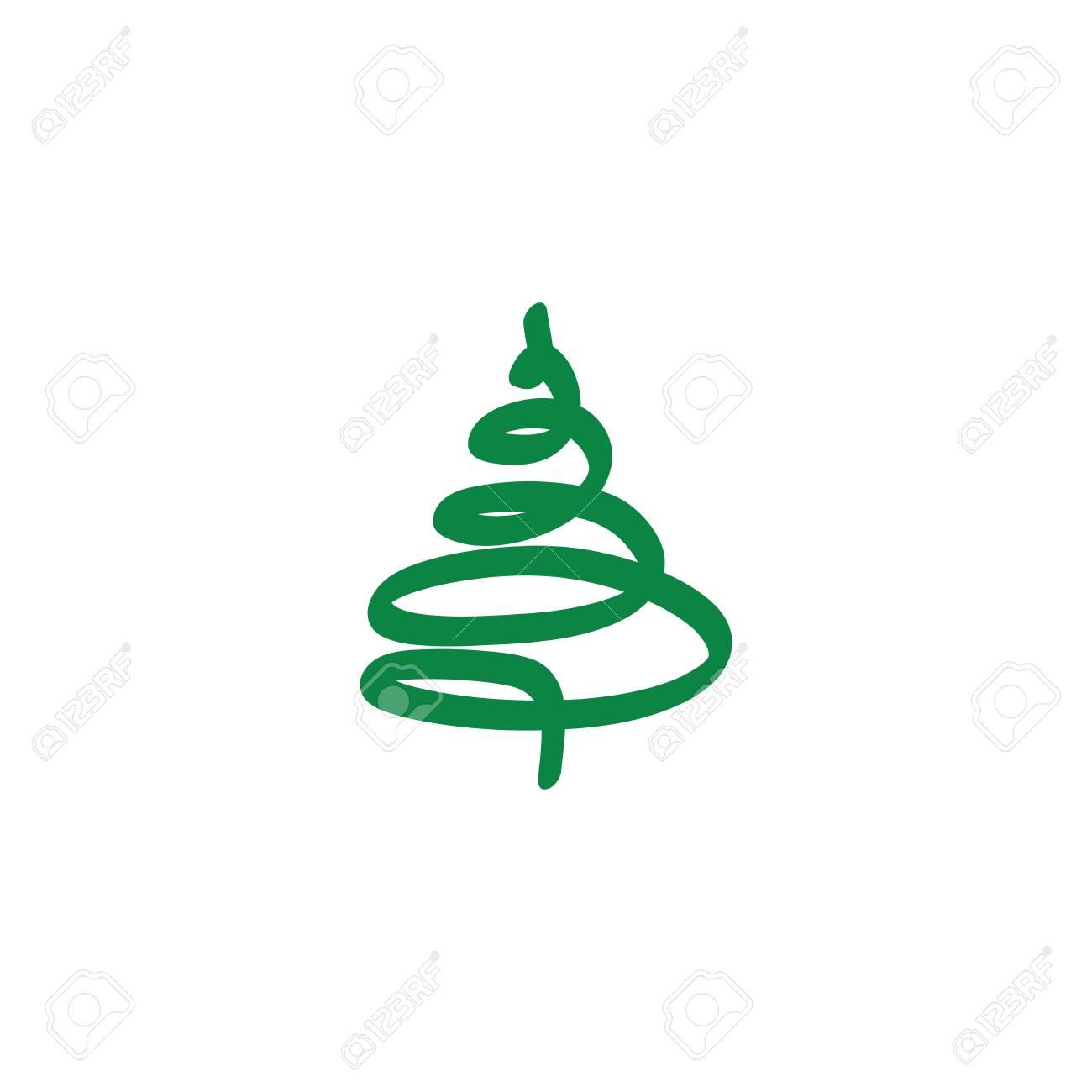 Disegni Di Natale Vettoriali.Segno Di Albero Di Natale Abbozzo Di Verde Di Disegno Della Siluetta Su Priorita Bassa Bianca Simbolo Dell Inverno Delle Decorazioni E Delle