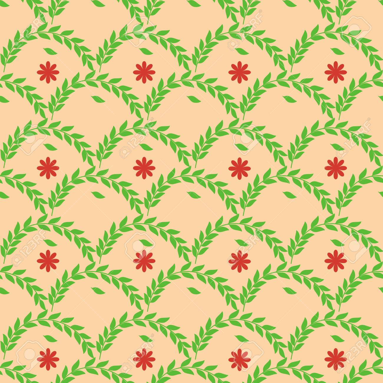 d6a2d1c087a6 Twig and flower seamless pattern. Fashion graphic background..