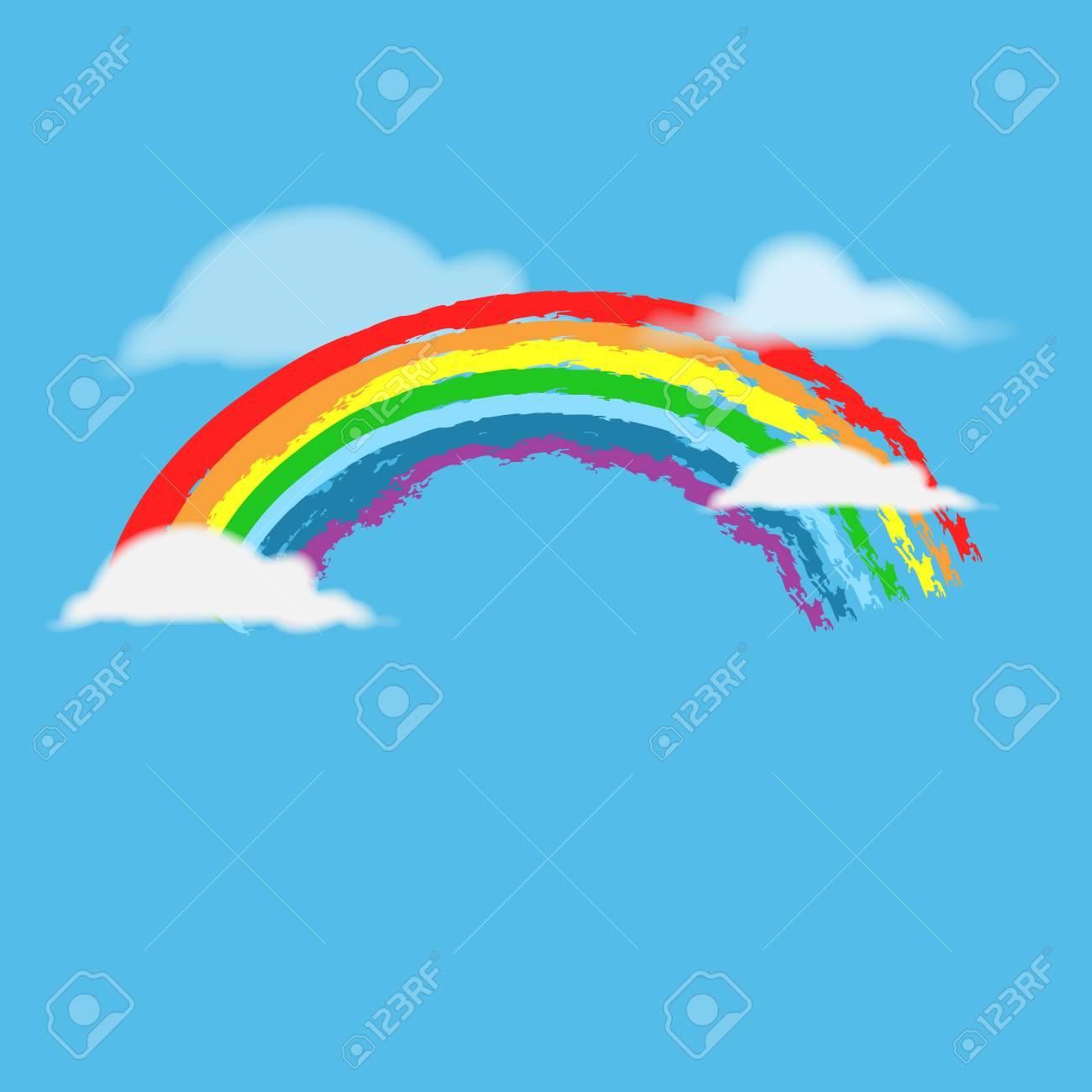 rainbow on sky sign. illustration colorful spectrum arc. cute