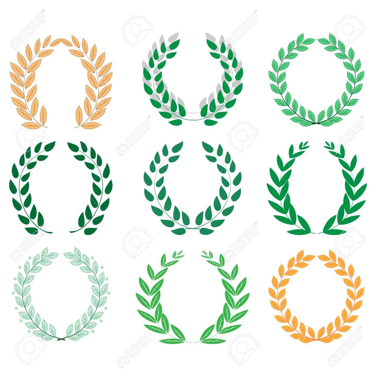 Laurel Wreath Reward Set Modern Symbol Of Victory And Award