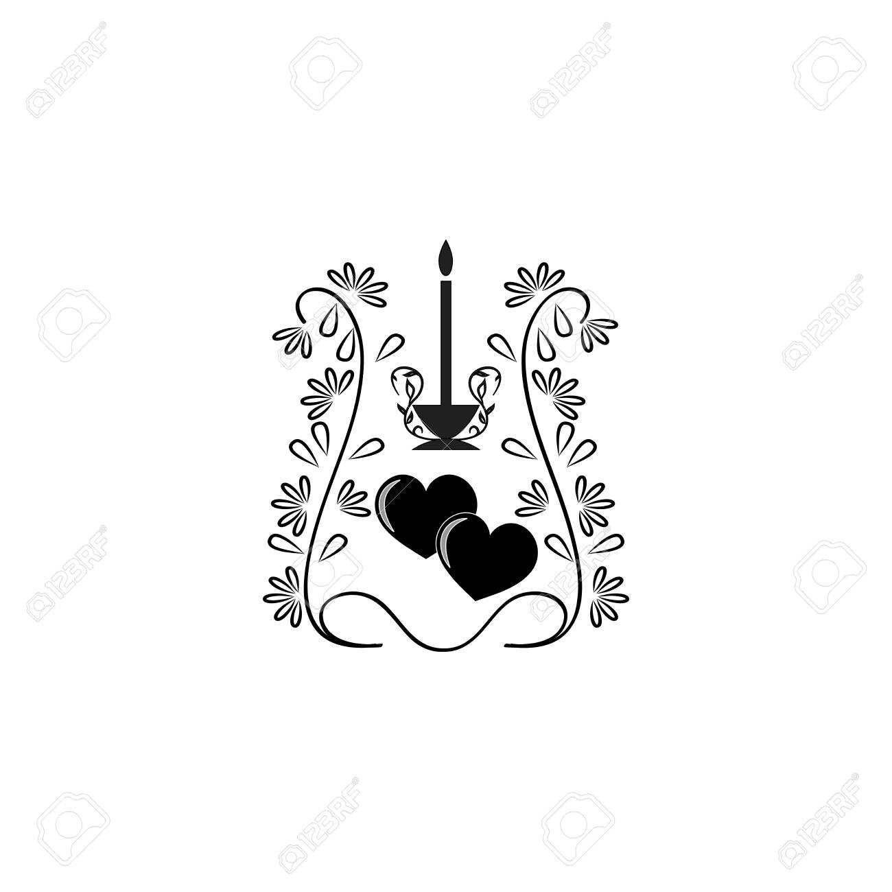 Heart And Candle Silhouette Fashion Romantic Graphic Design Element