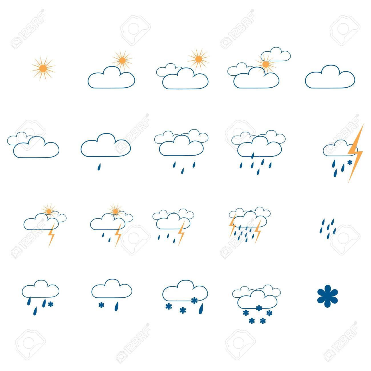 Weather Icon Set Meteorology Symbol Weather Forecast Isolated
