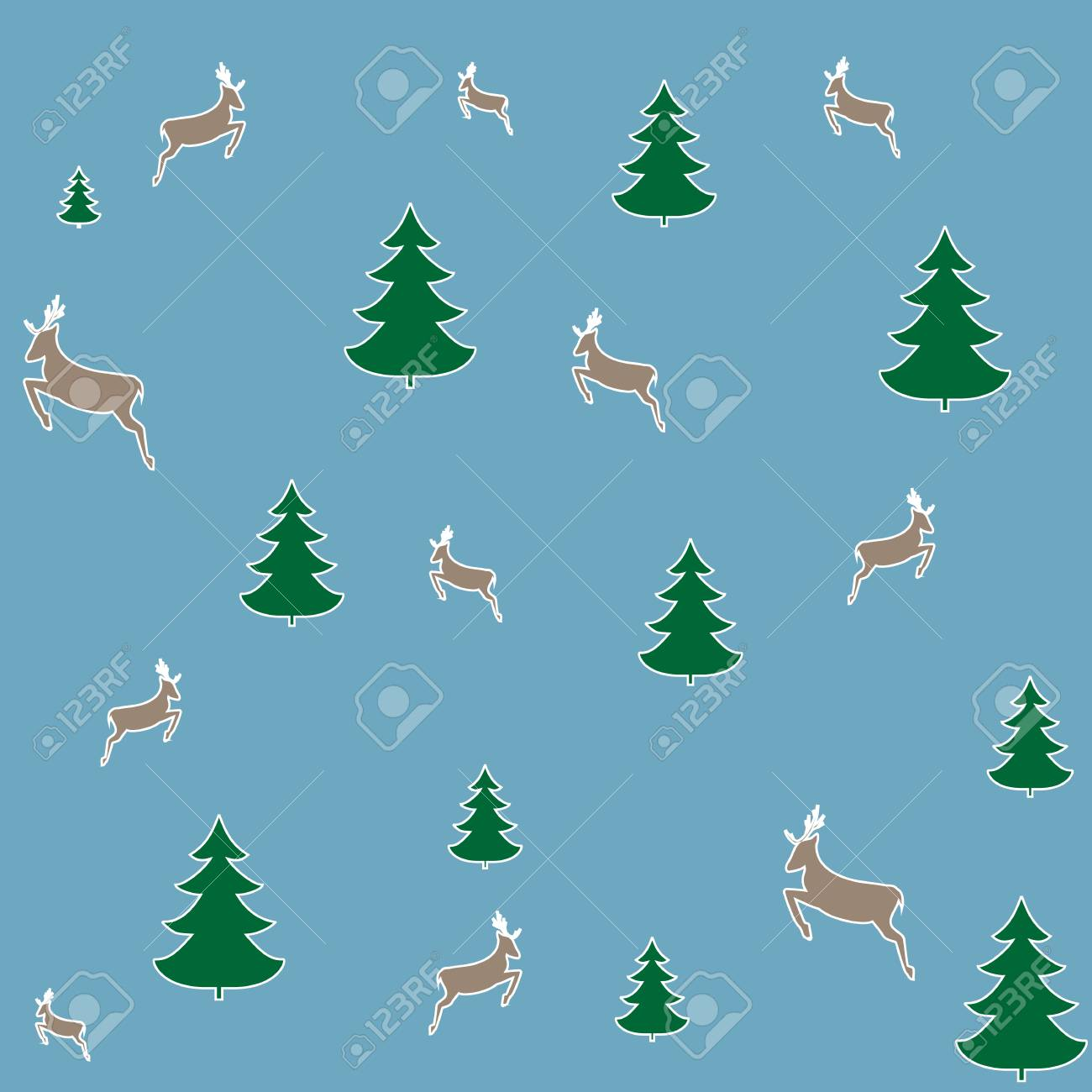 christmas tree and deer seamless pattern. fashion graphic background