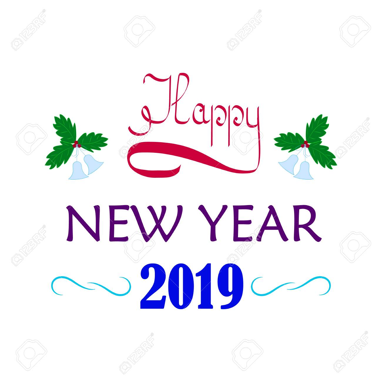happy new year hand lettering and 2019 on white background fashion graphic background design