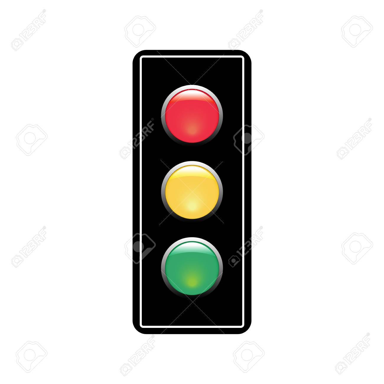 Stoplight sign. Icon traffic light on white background. Symbol regulate movement safety and warning. Electricity semaphore regulate transportation on crossroads urban road. Flat vector illustration. - 126765510