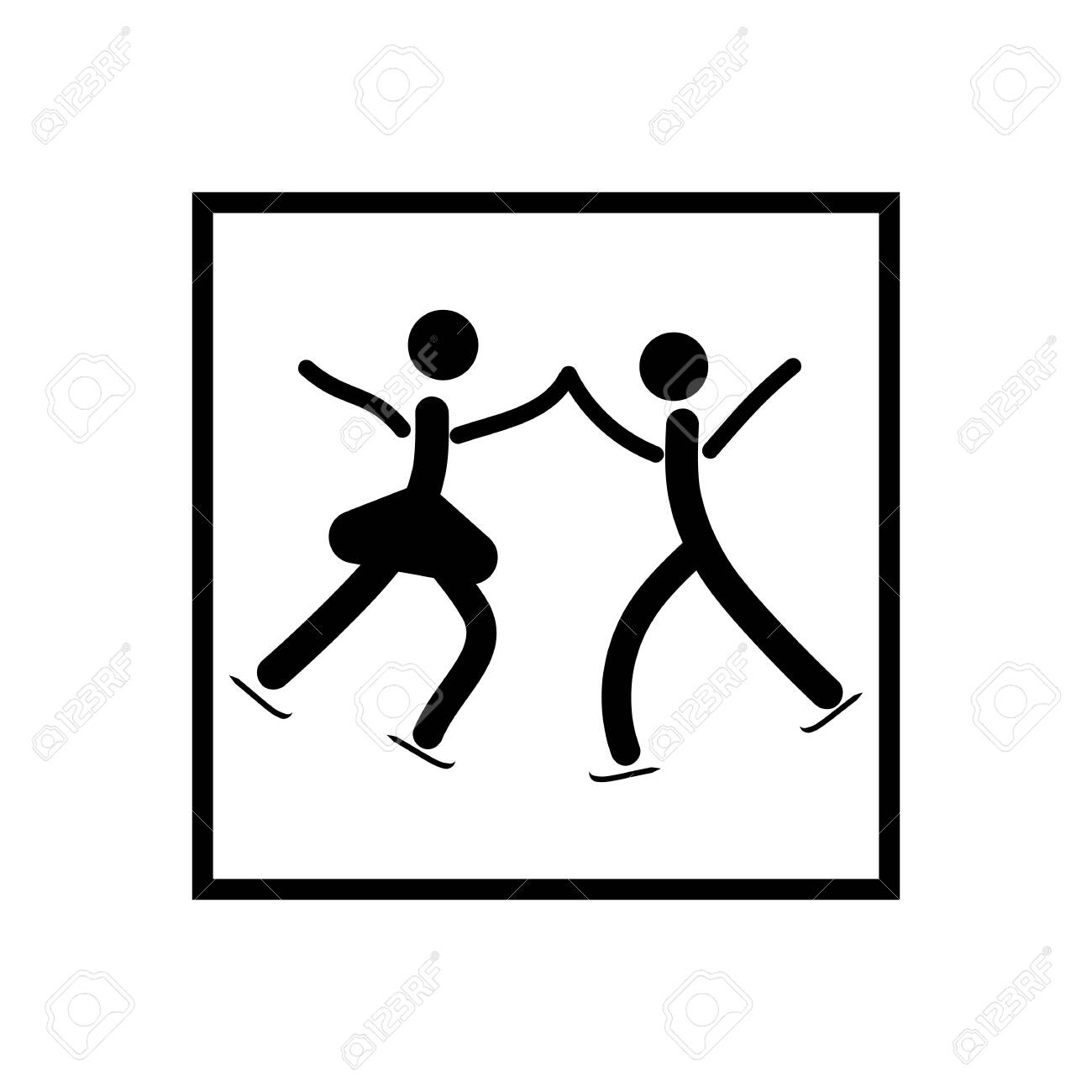 Sports. Pair figure skating icon. Two silhouette skate. icon sports dance on ice. - 150070352
