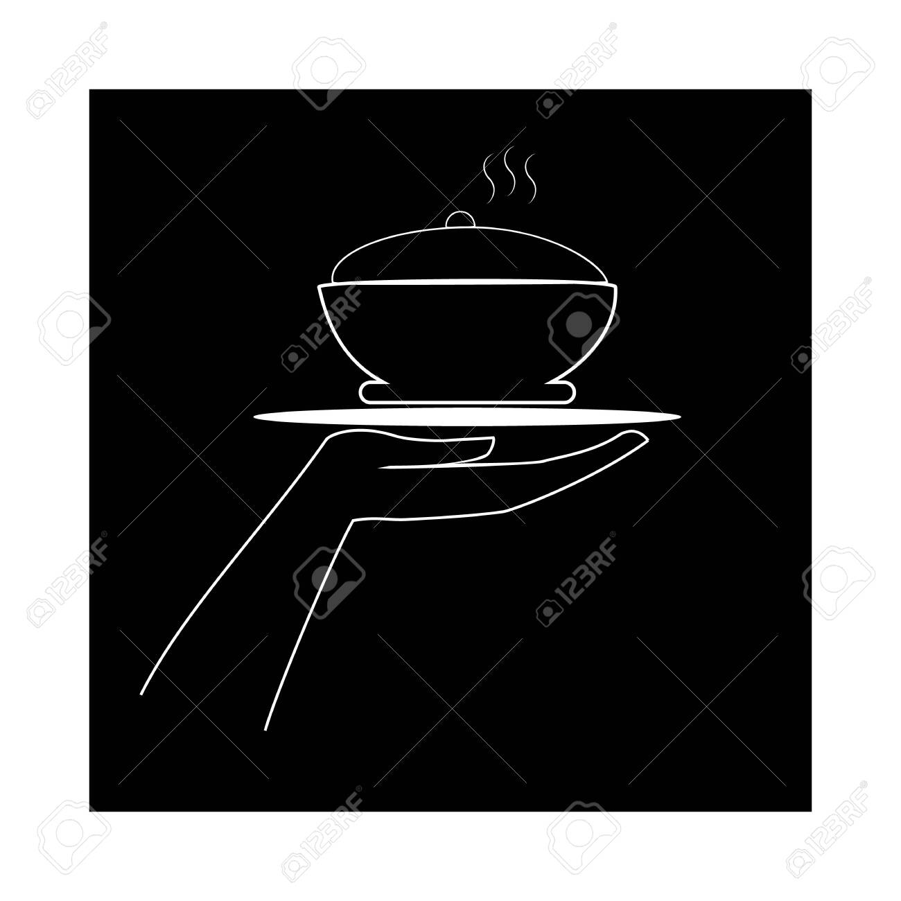 cafe Thin flat linear silhouette in square with inscription CAFE on white background Designation for restaurant emblem cafe, to banner, signboard. Monochrome design element Vector illustration - 150070350