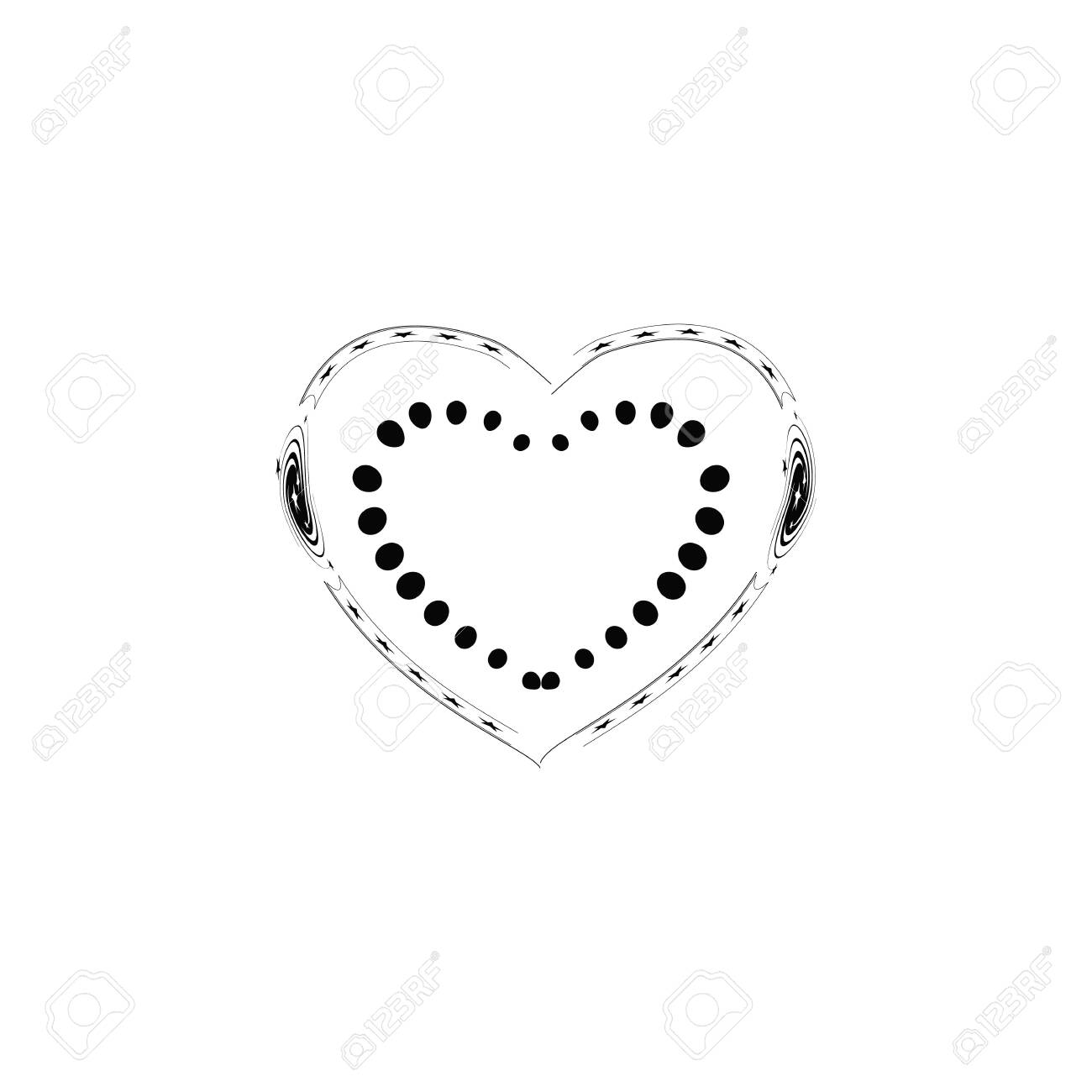 Decorative black heart on white background. Romantic symbol love, passion and wedding. Template for t shirt, apparel, card, poster. Design element of valentine day. Vector illustration - 143708256