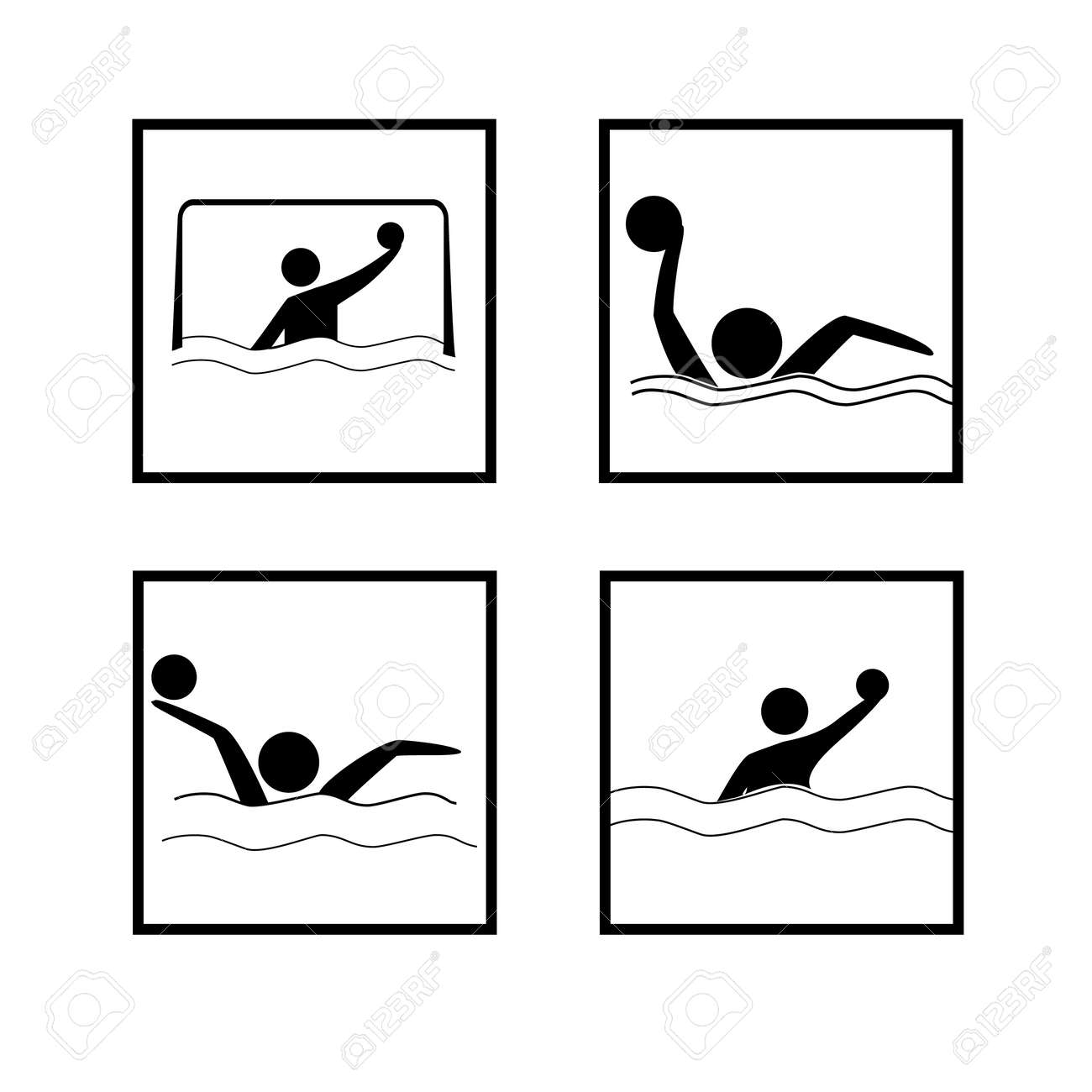 Water sports. Water polo set icon. Silhouette emblem of water polo. Logo professional sports in water. - 150070359
