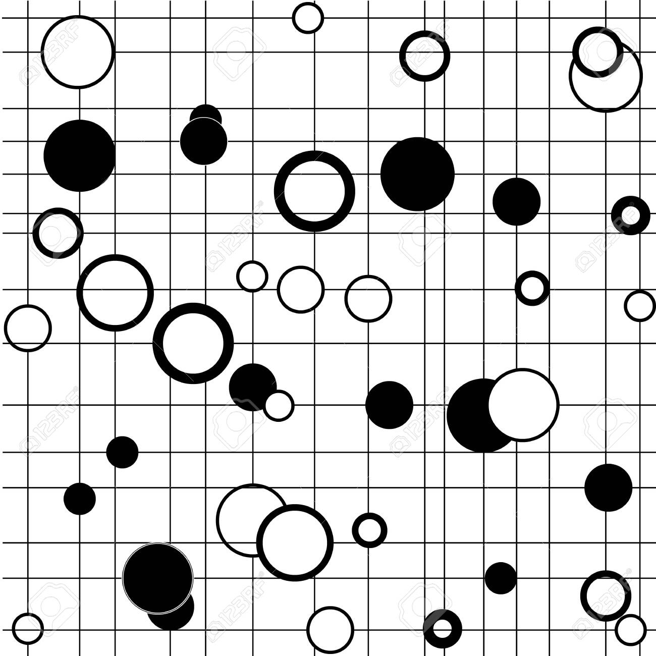 Star, circle on line seamless pattern. Fashion graphic background. Modern stylish abstract texture. Monochrome template for prints, textiles, wrapping, wallpaper. Design element. Vector illustration. - 150070368