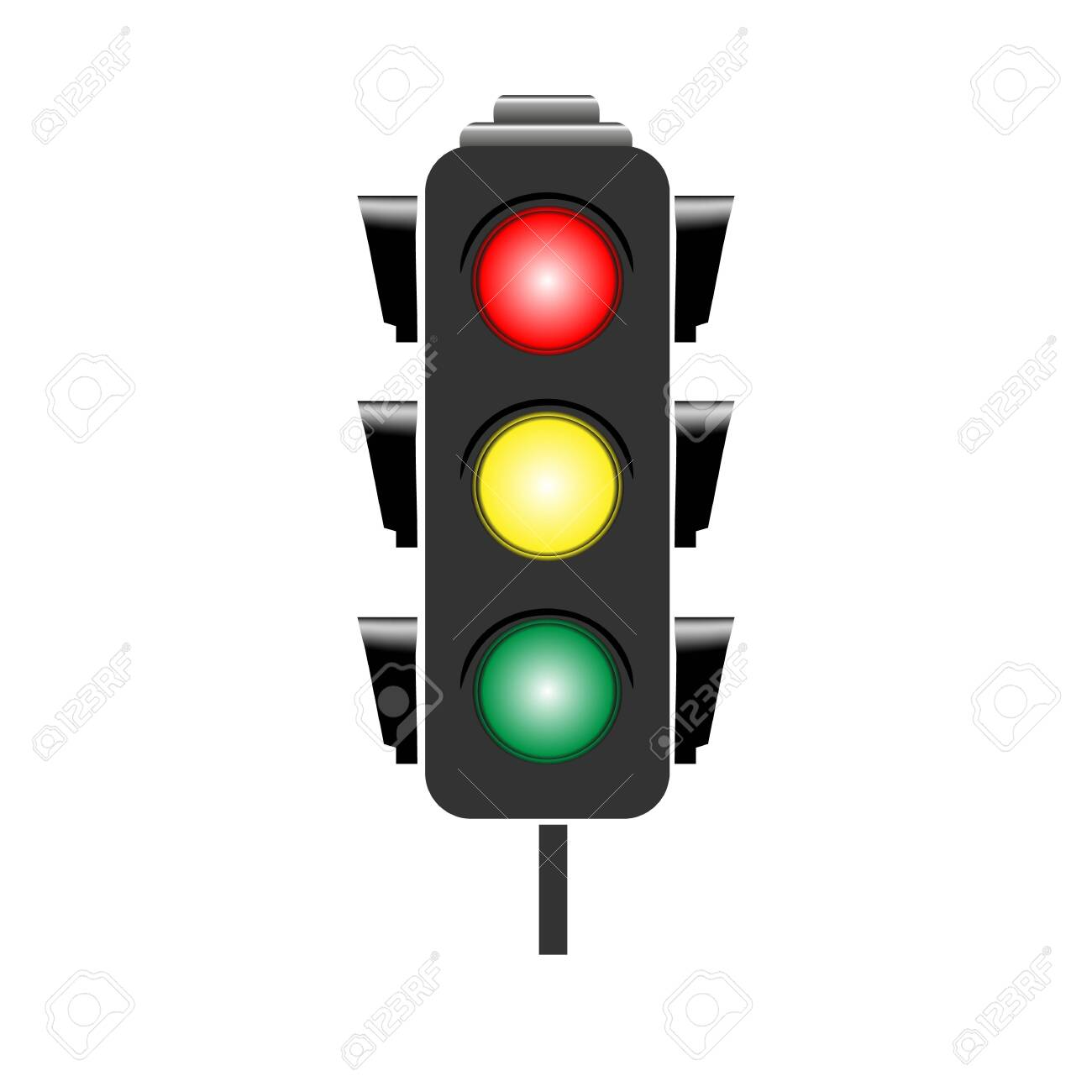 Stoplight sign. Icon traffic light on white background. Symbol regulate movement safety and warning. Electricity semaphore regulate transportation on crossroads urban road. Flat vector illustration - 149907162