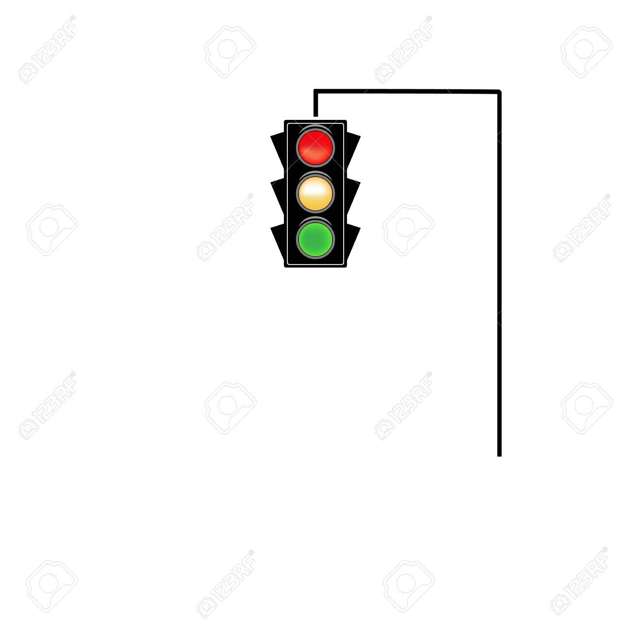 Stoplight sign. Icon traffic light on white background. Symbol regulate movement safety and warning. Electricity semaphore regulate transportation on crossroads urban road. Flat vector illustration - 149911541