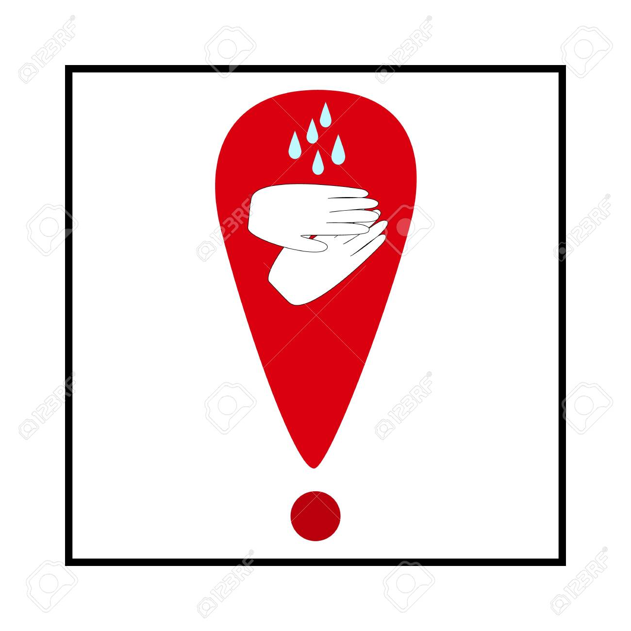 Warning. Covid-19. Wash your hands often soapy water. Clean hands icon. Symbol of safety for health and protection against coronavirus. For banner, flyer, warning. - 150071805