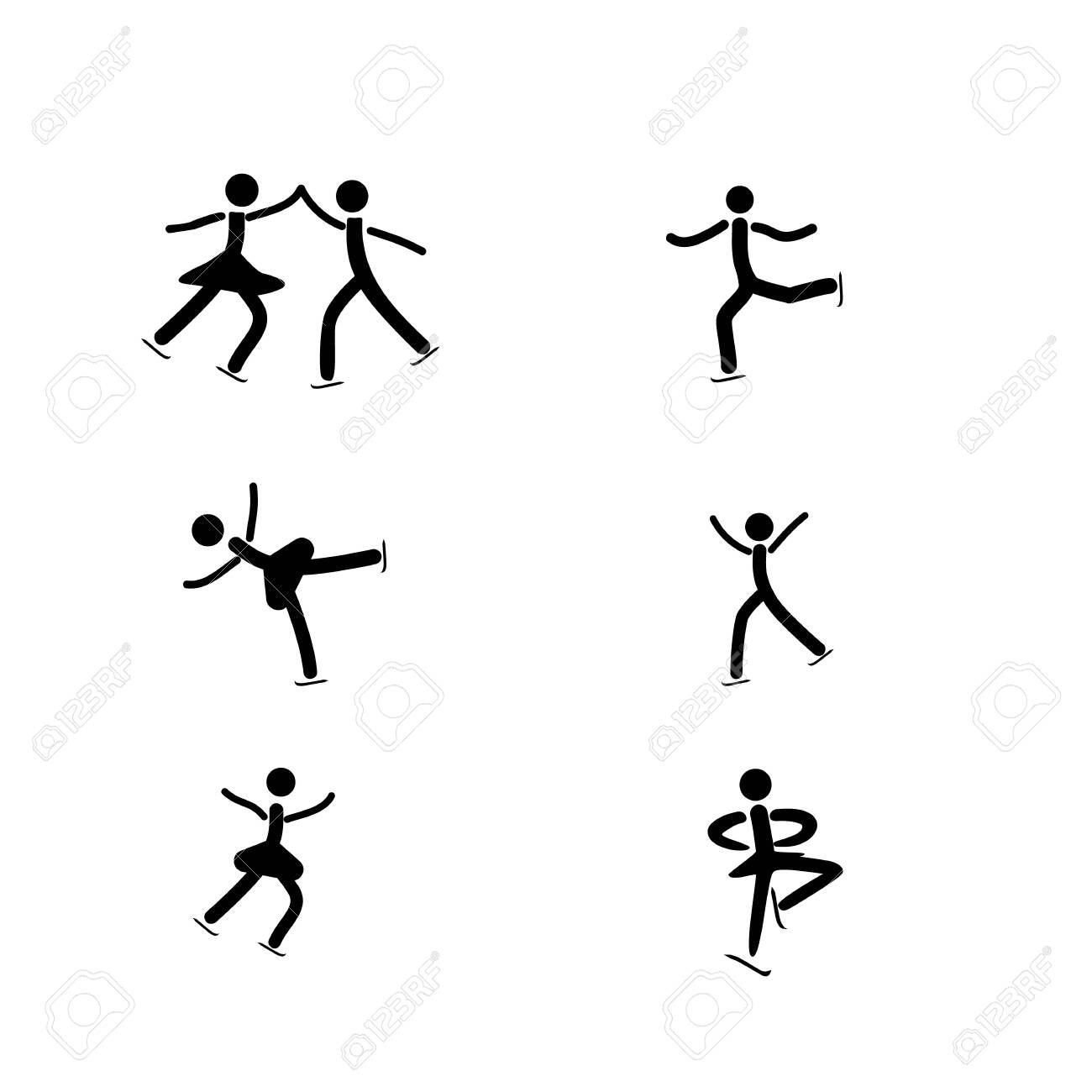 Sports. Figure skating set icon. Silhouette figures skate. Logo professional sports dance on ice. - 150071811