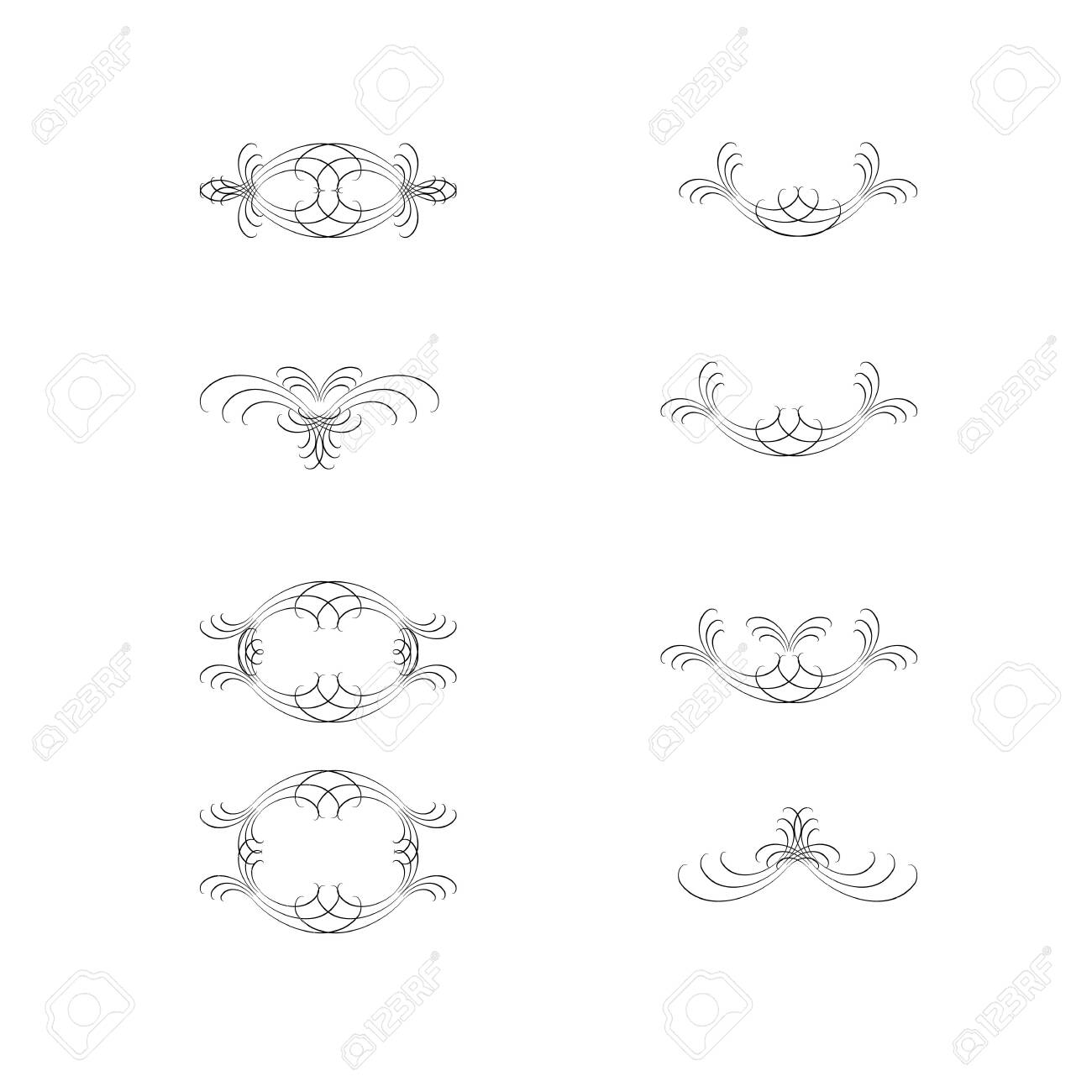 Decorative swirls dividers. Elegance line for frame, invitation. Delimiter old text, calligraphic swirl border ornaments and vintage divider. Ornament curl, calligraphy victorian lines. Vector icons - 149913258