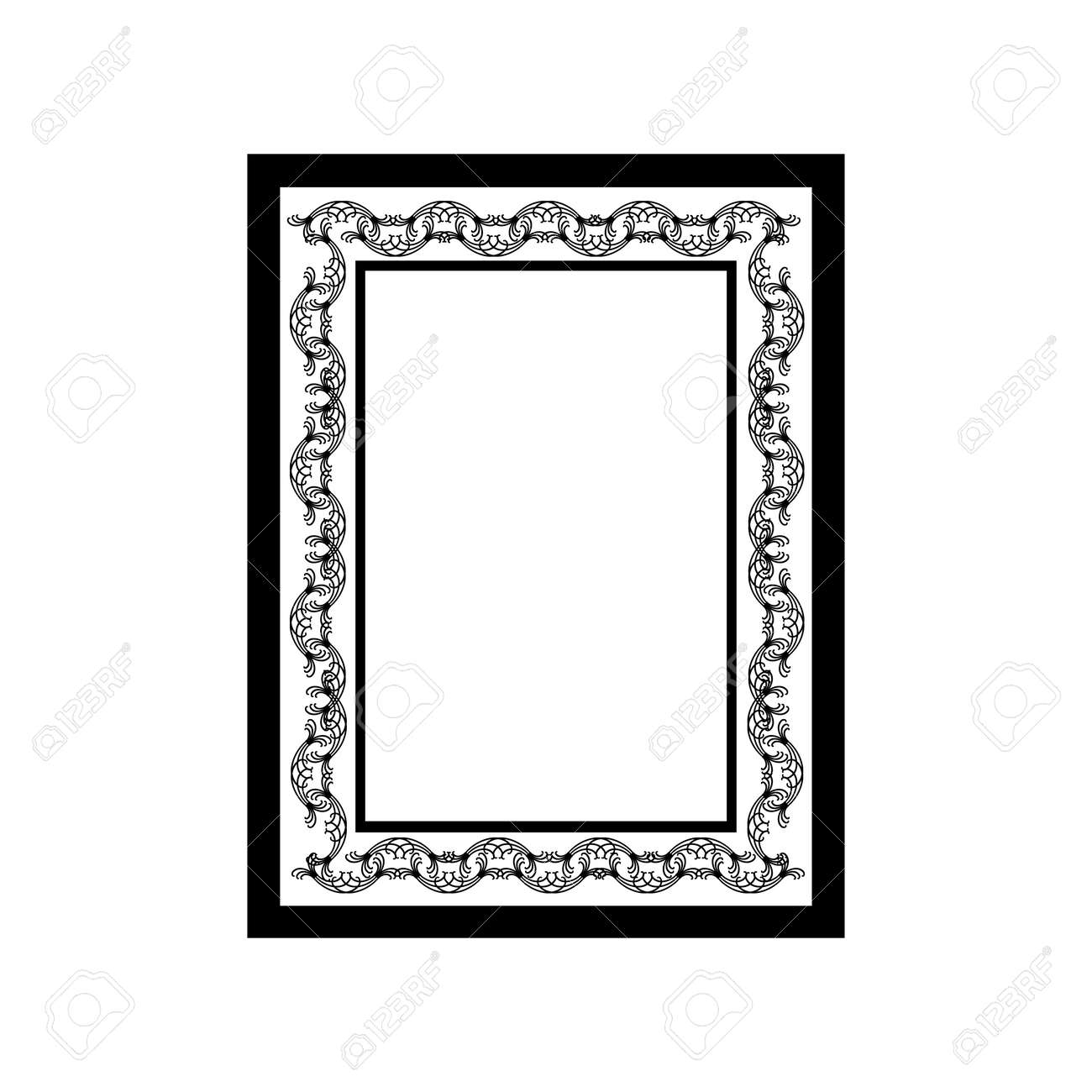 Frame with wavy line. Fashion graphic background design. Modern stylish abstract texture. Monochrome template for prints, textiles, wrapping, wallpaper, website. Design element. Vector illustration - 149913601