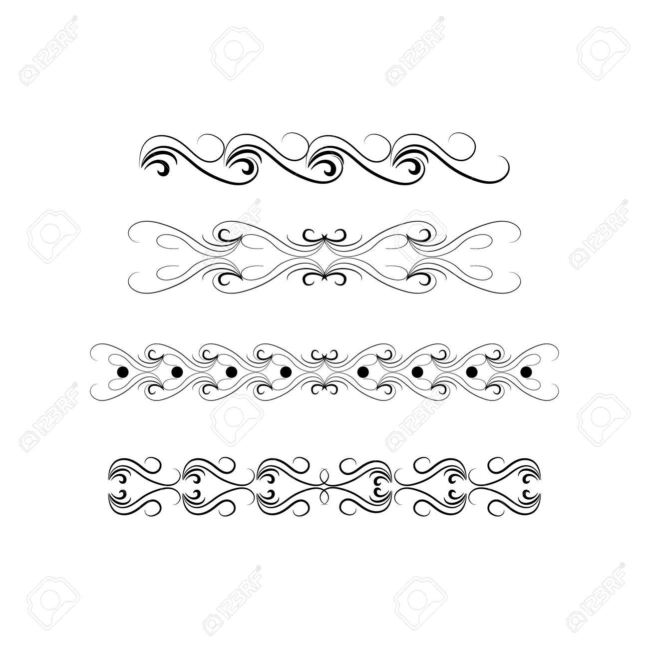 Decorative swirl divider. Elegance line set Vector - 159702354