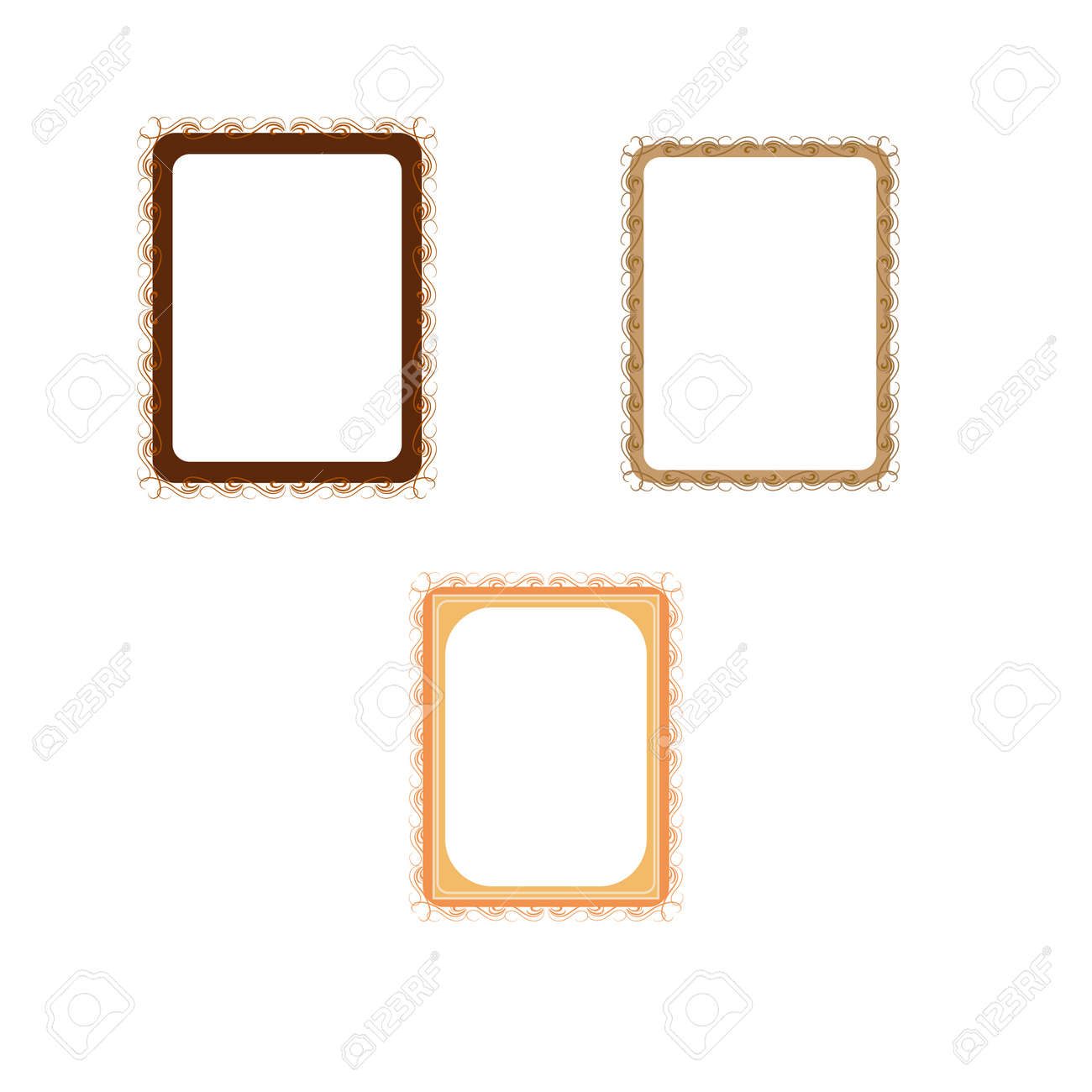 Gold frames with wavy line for photo, blank prints - 159702356