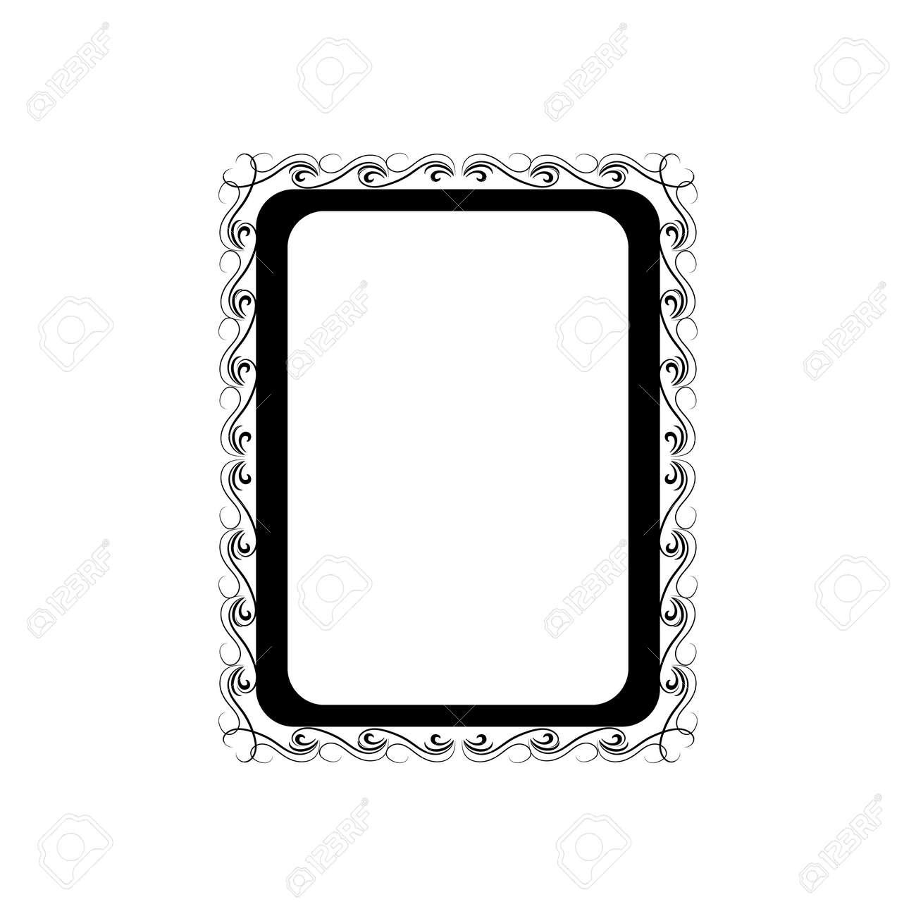 Monochrome frame with wavy line for pfoto. - 159702357