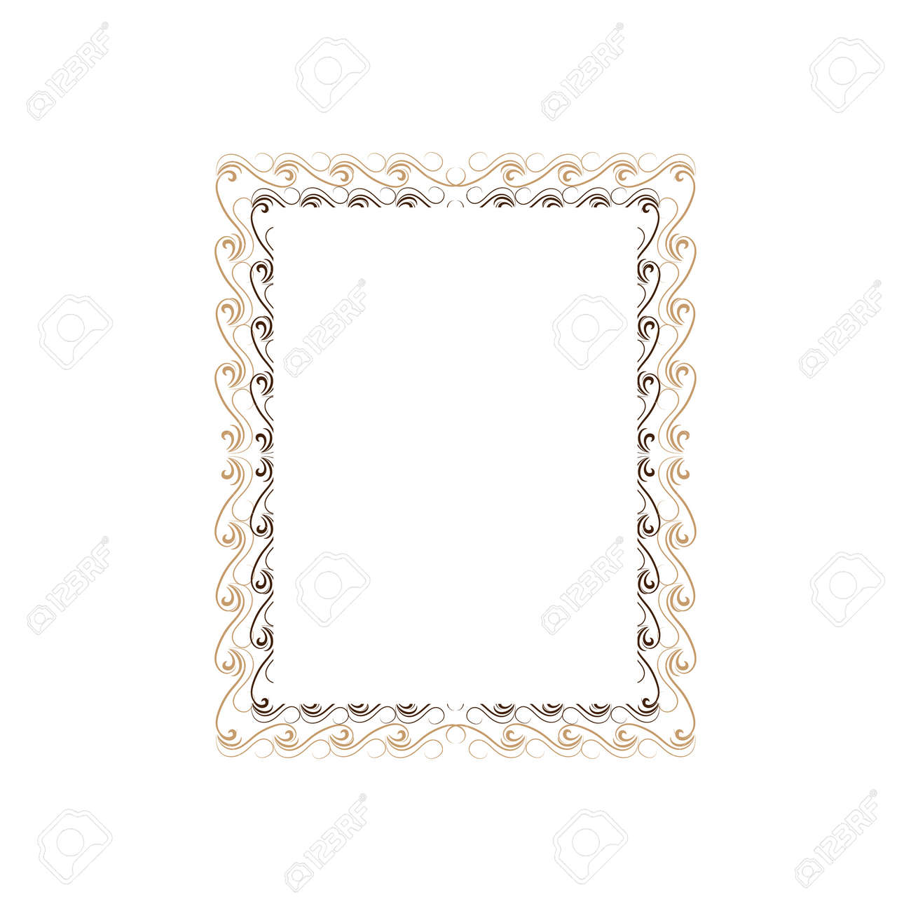 Gold frame with wavy line for photo, blank, prints - 159702358