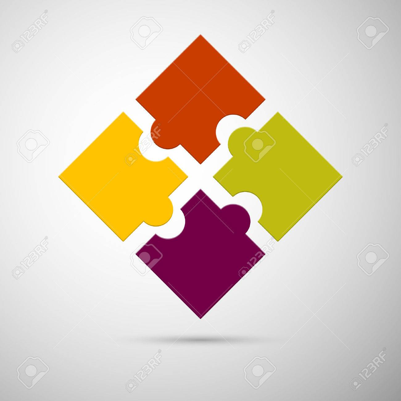 yellow, red, violet and green colored plastic puzzle infographic concept Stock Vector - 27658250