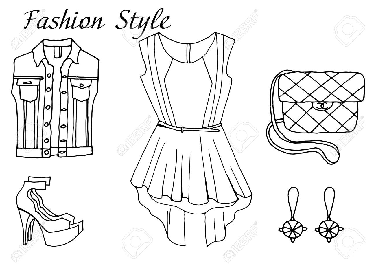 Vector Hand Drawn Sketch Black And White Fashion Outfit Shop Royalty Free Cliparts Vectors And Stock Illustration Image 124098326