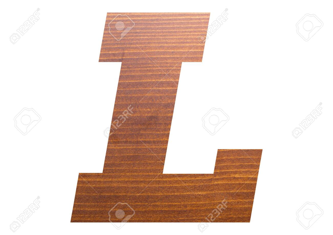 Letter L with wooden texture on white background. - 137668669