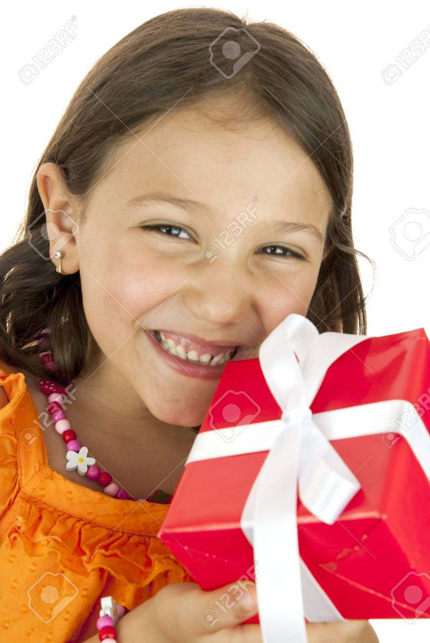girl holding a gift box in her hand Stock Photo - 13869559