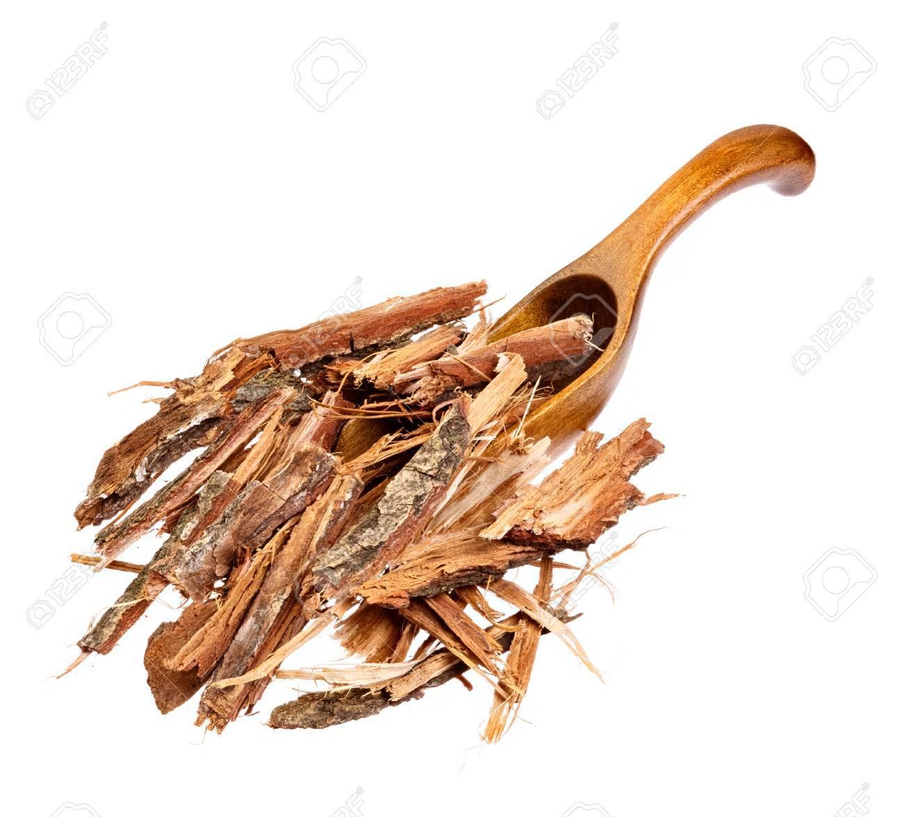 Oak bark on the wooden spoon