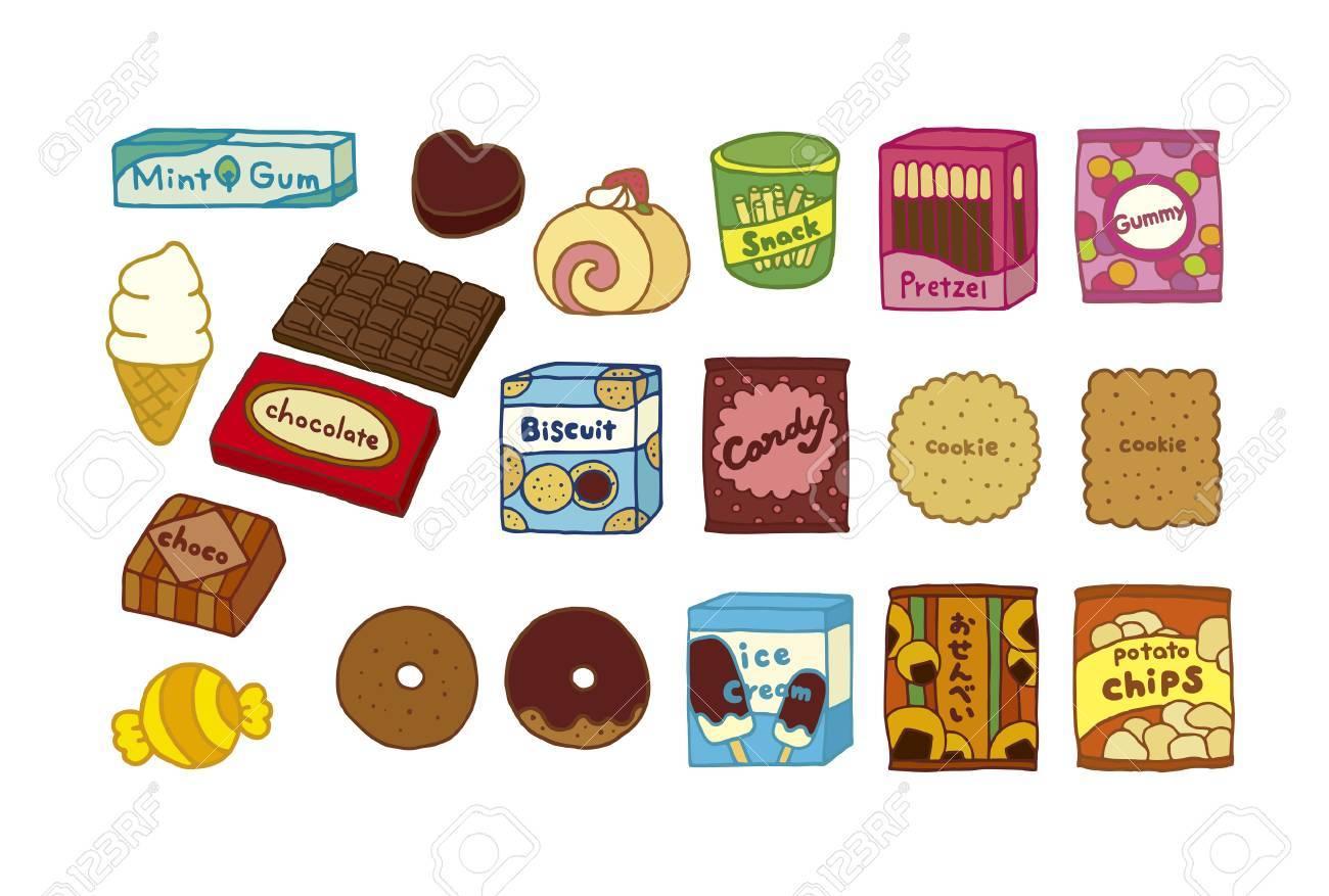 各種お菓子のイラストのイラスト素材 ベクタ Image