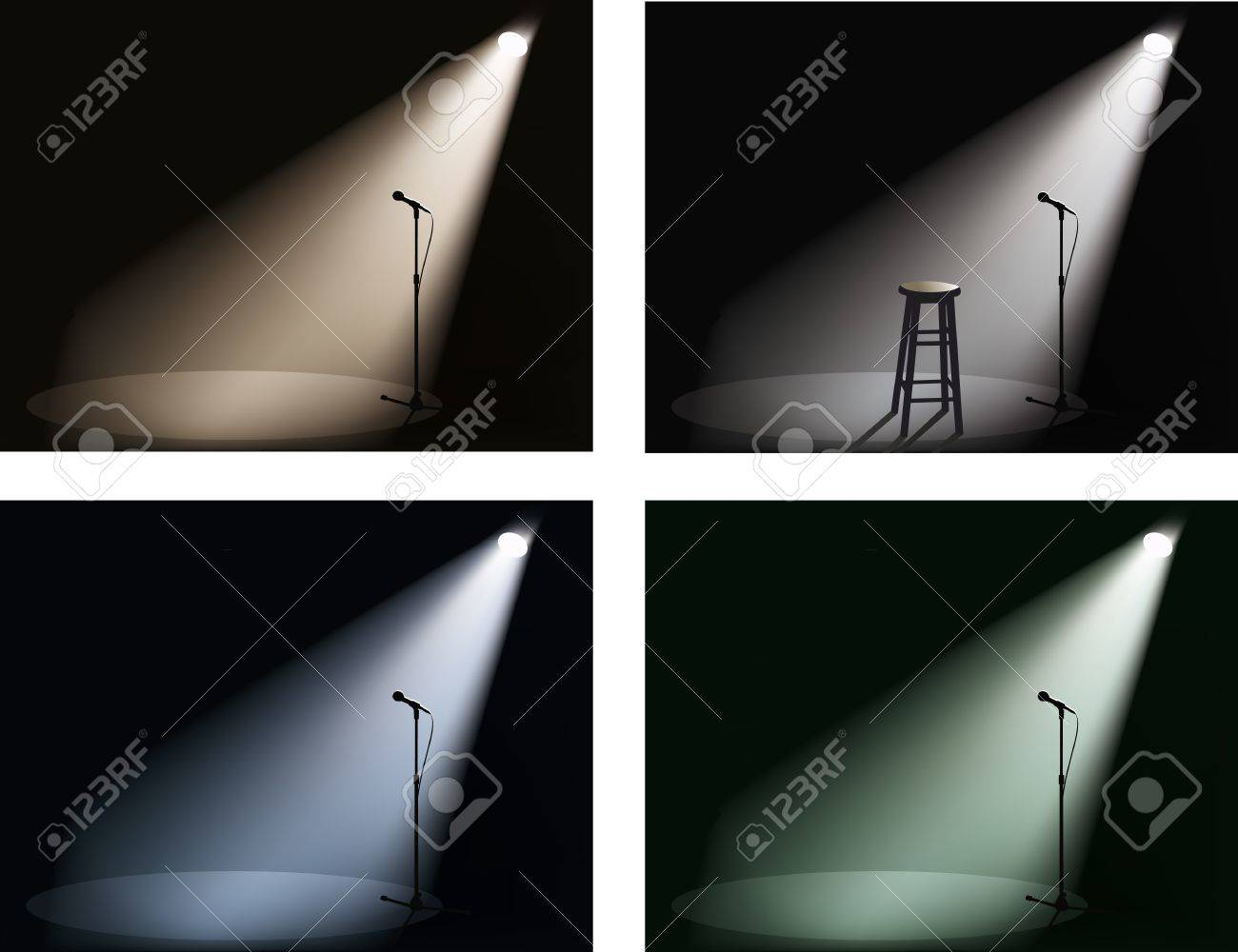 night club with spotlight and microphone Stock Vector - 9824107