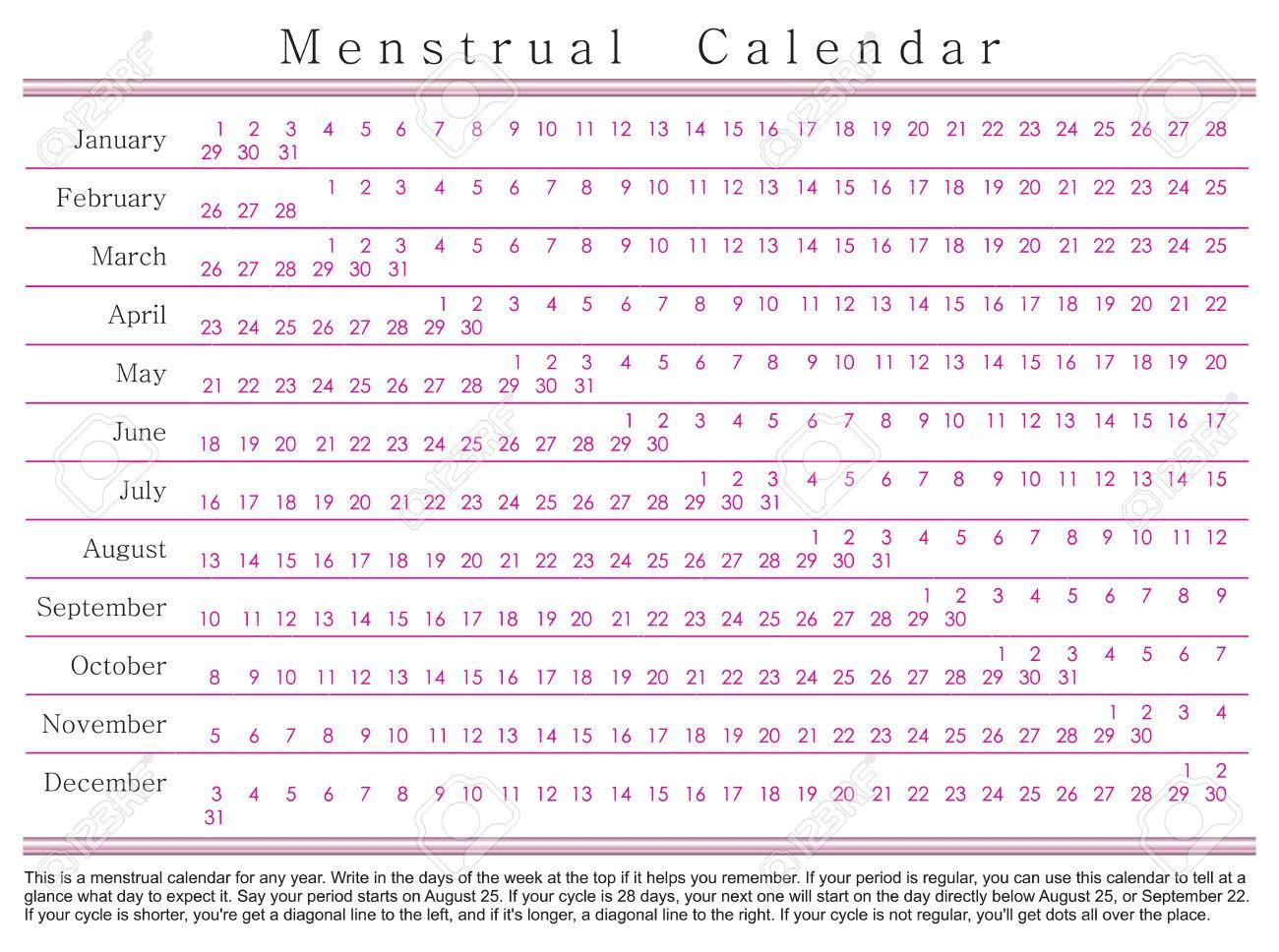 Calendario Delle Mestruazioni.Calendario Mestruale Questo E Un Calendario Mestruale Per Ogni Anno Scrivi Nei Giorni Della Settimana In Alto Se Ti Aiuta A Ricordare