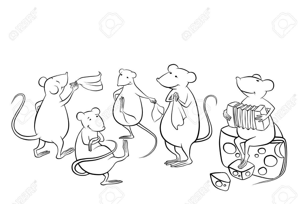 Mäuse Tanzen In Der Küche Und Der Wiedergabe Von Musik Lizenzfreie ...