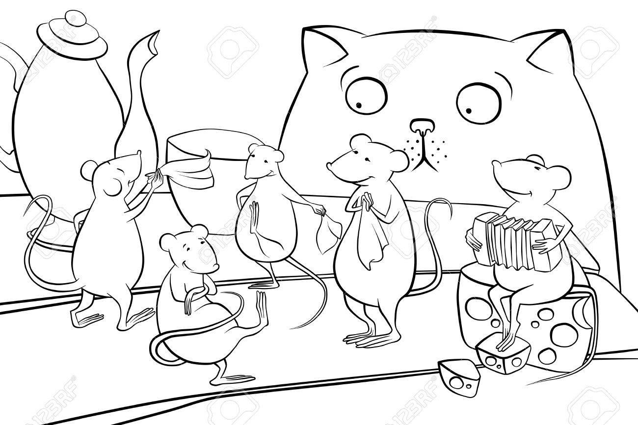 Mäuse Tanzen In Der Küche. Katze Beobachten Lizenzfreie Fotos ...