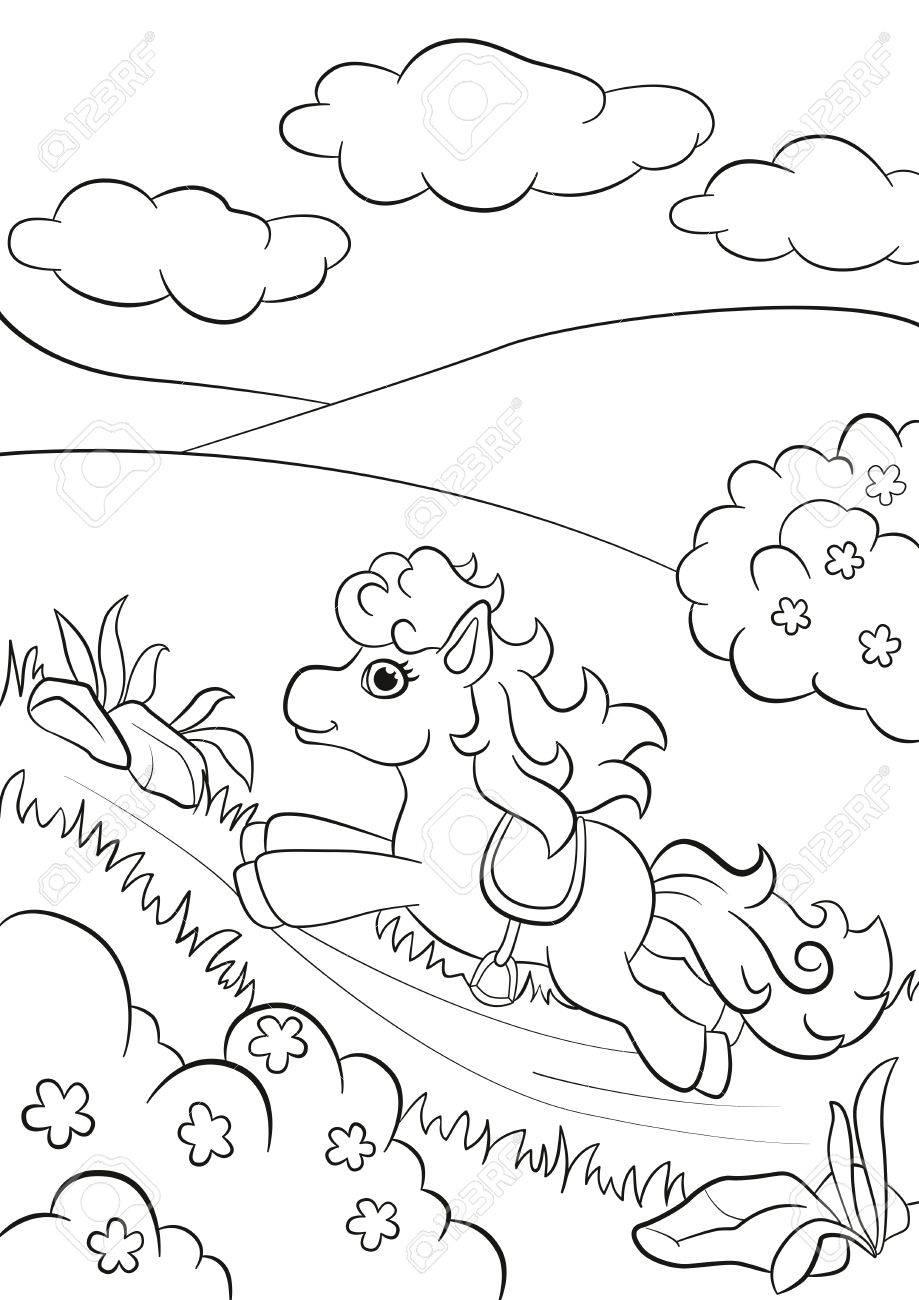 Páginas Para Colorear. El Pequeño Pony Lindo Correr A Lo Largo De La ...