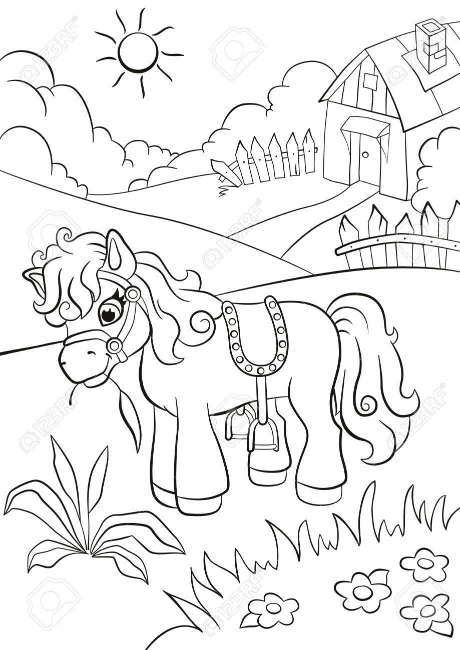Páginas Para Colorear. Poco Lindo Pony Comer Hierba En La Granja ...
