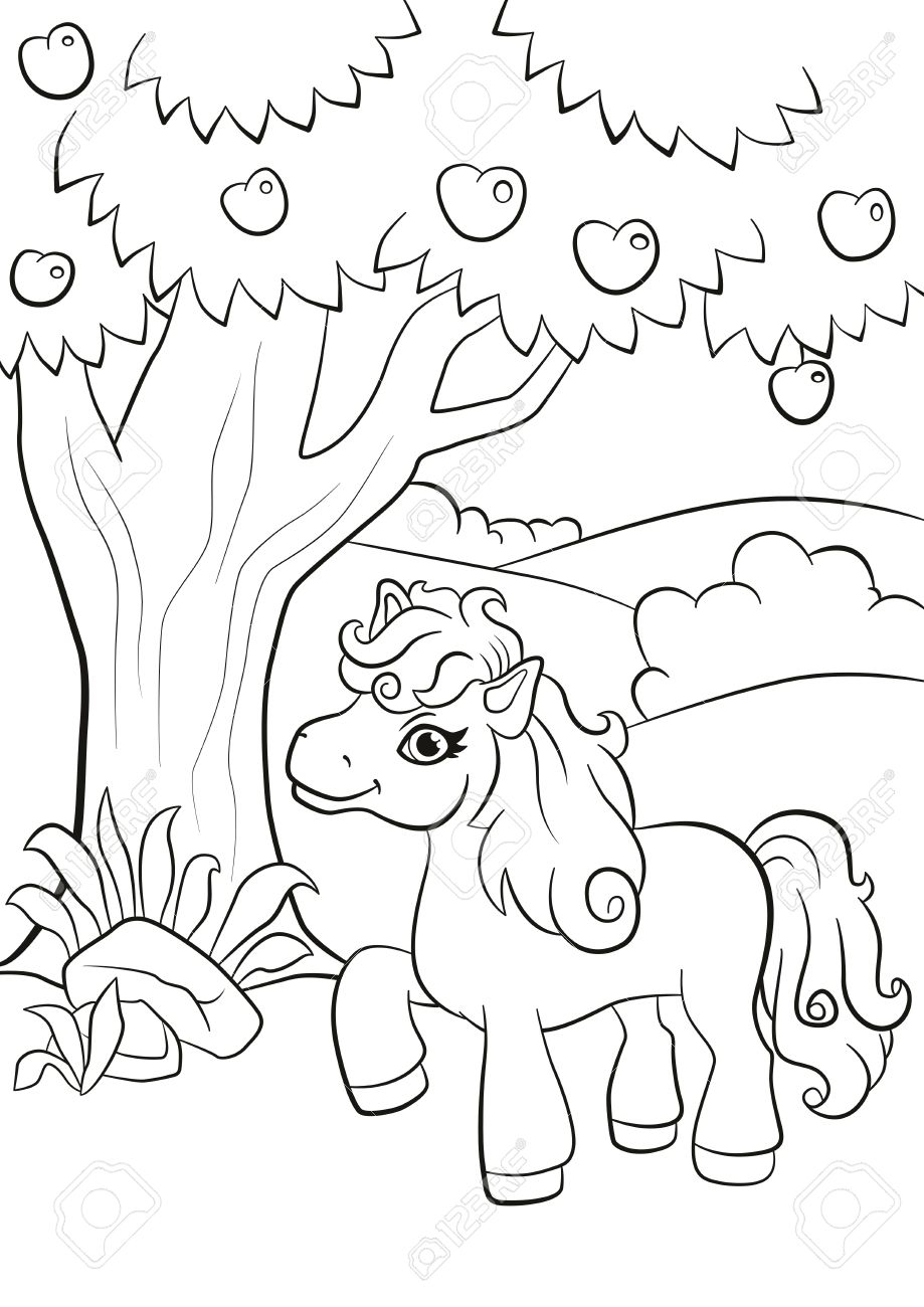 Coloring Pages Little Cute Pony Stands Under The Apple Tree And Smiling Stock Vector