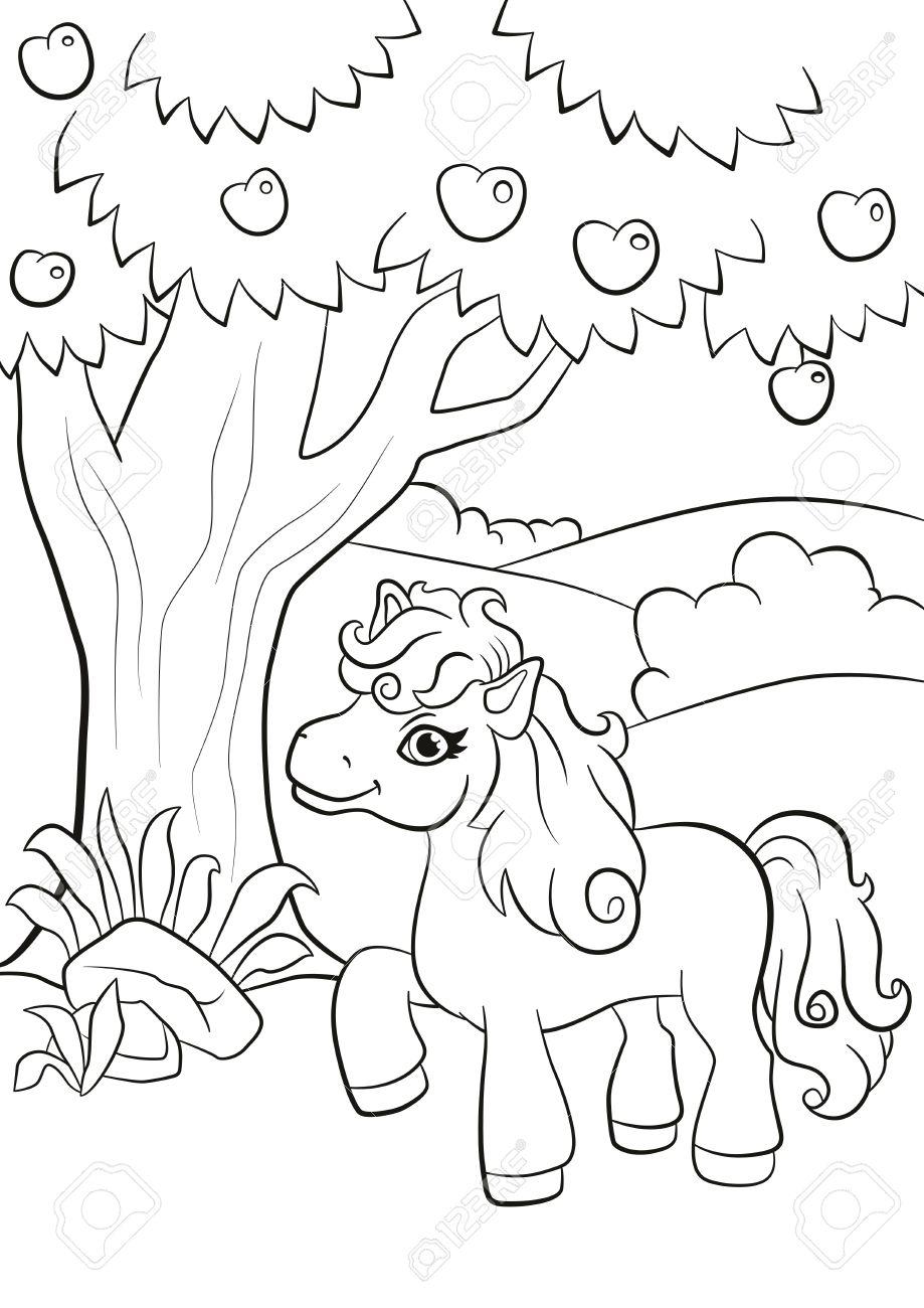 Páginas Para Colorear. El Pequeño Pony Lindo Se Encuentra Bajo El ...
