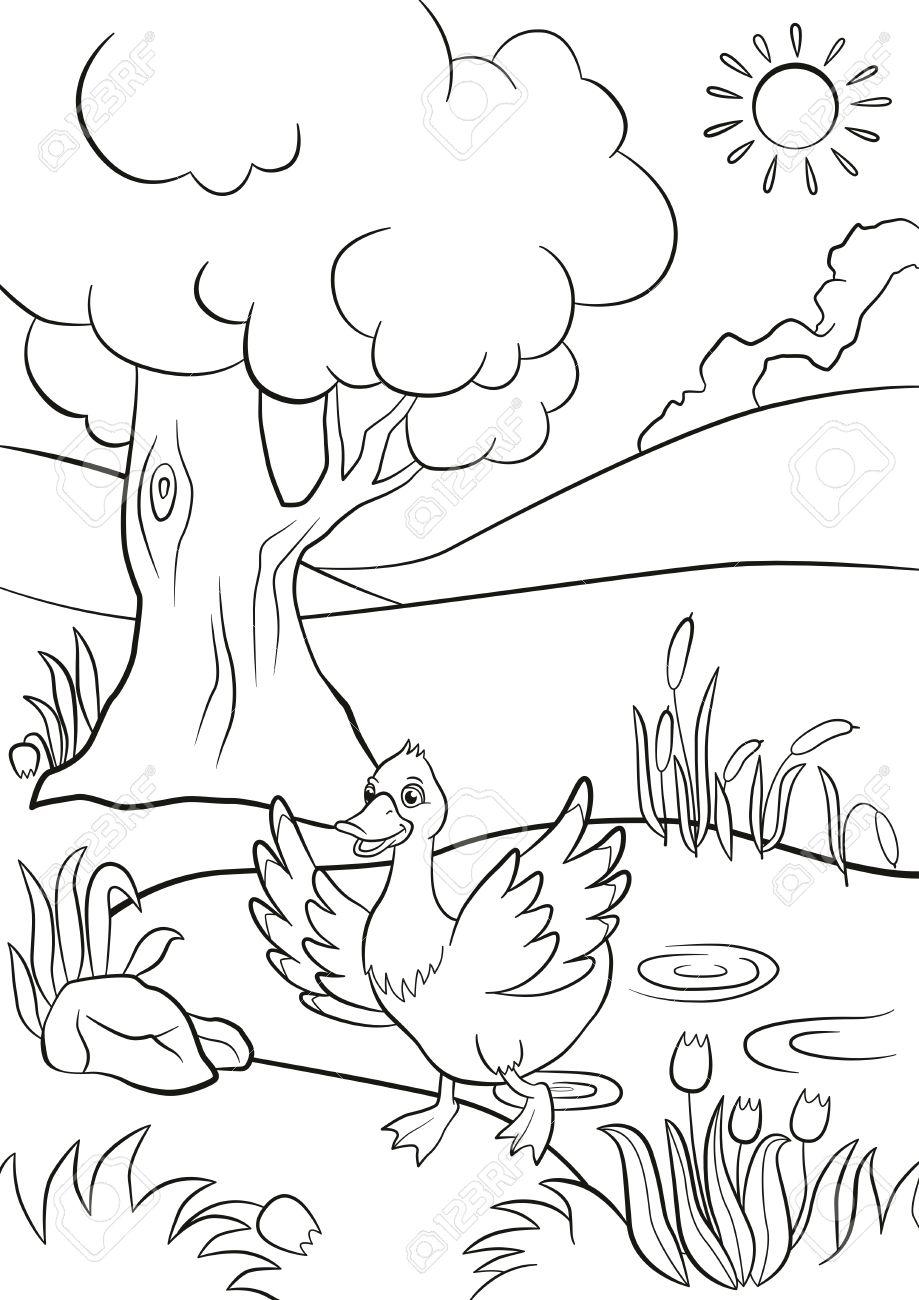 Malvorlagen. Nette Ente Läuft Aus Dem Teich. Es Gibt Baum, Blumen ...