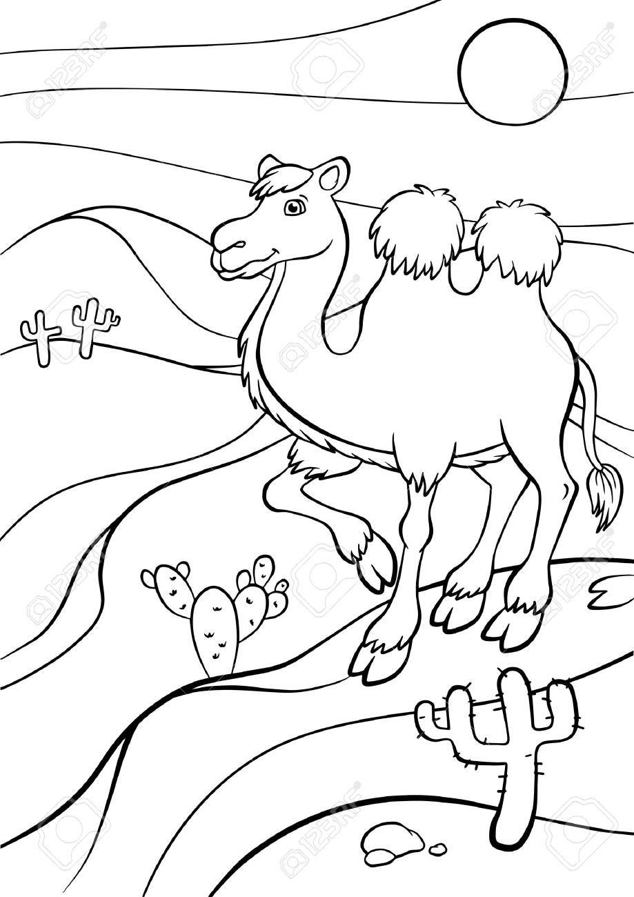 Coloring pages. Animals. Cute camel stands in the desert and..